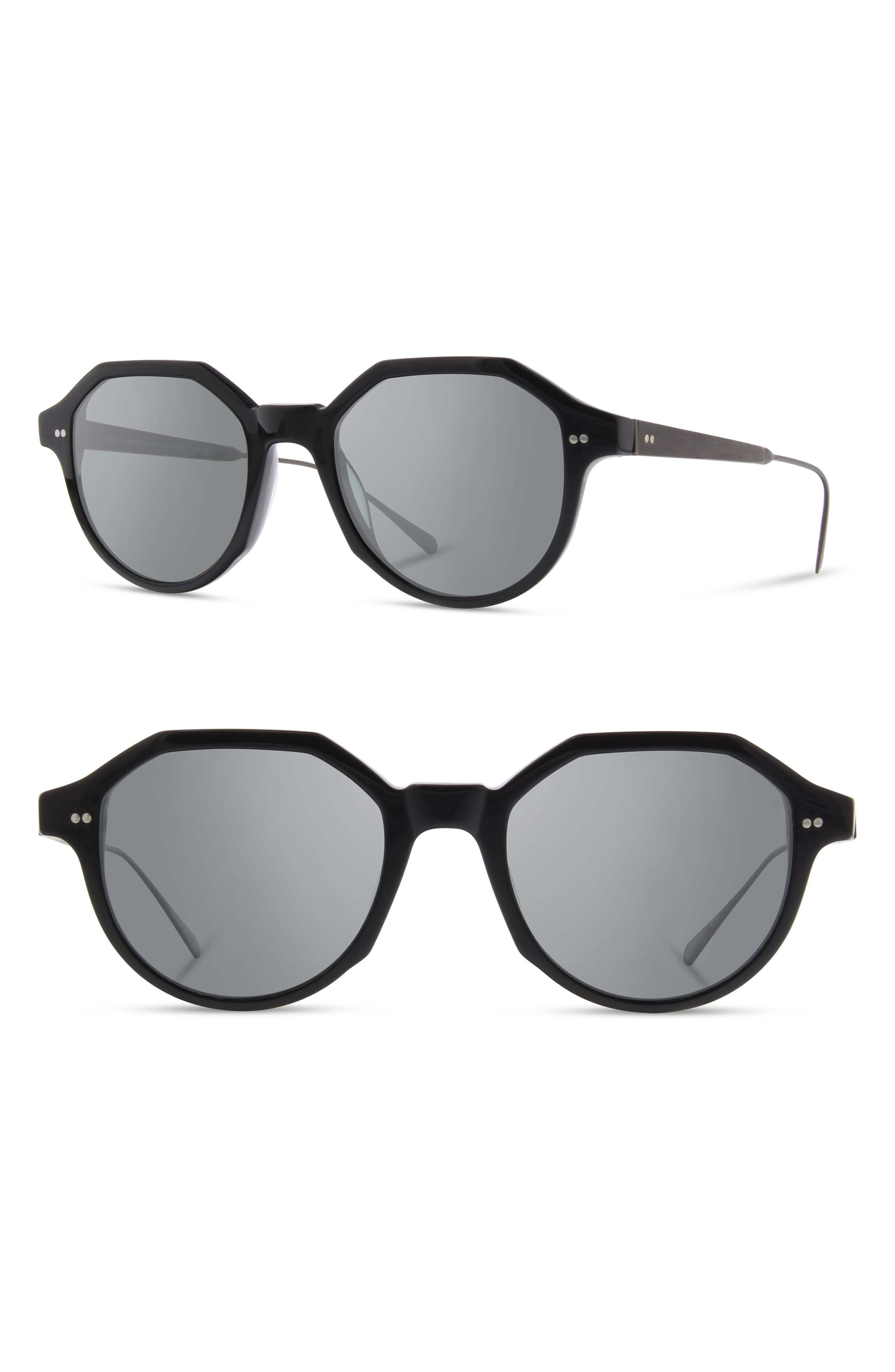 Shwood Powell 50Mm Polarized Geometric Sunglasses - Black/ Gunmetal/ Ebony/ Grey