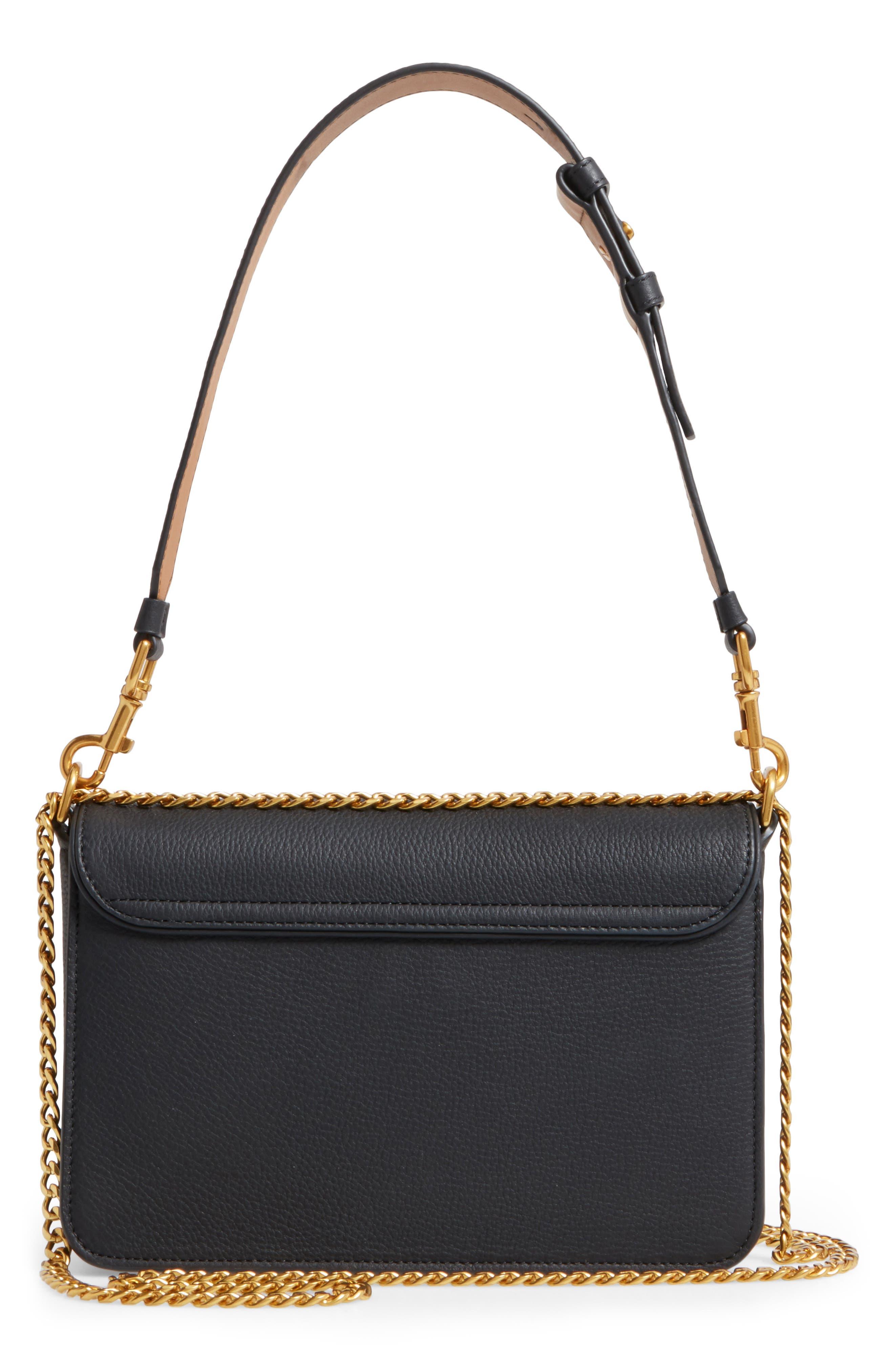 Chelsea Leather Shoulder Bag,                             Alternate thumbnail 3, color,                             001