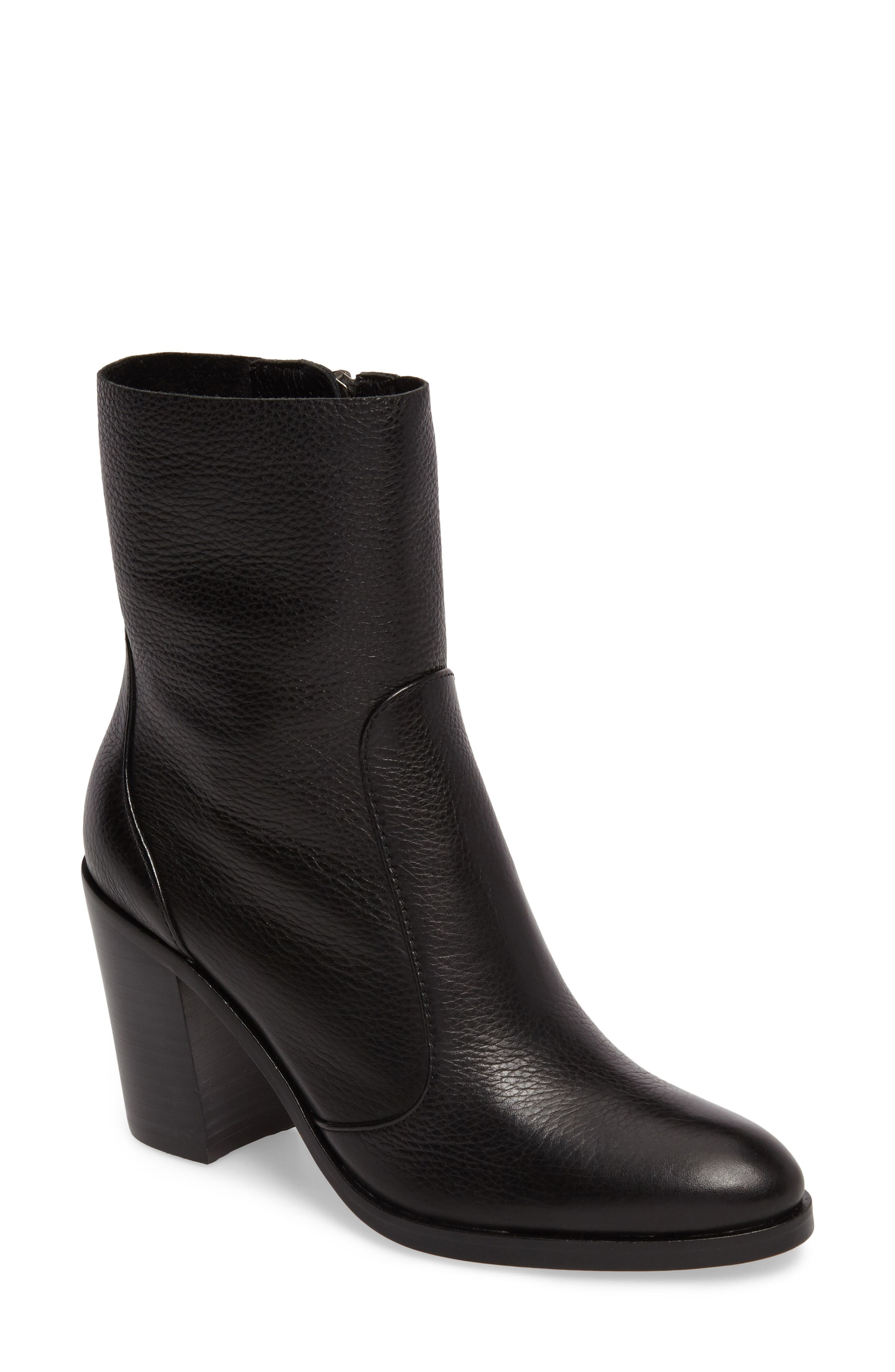 Roselyn Bootie,                             Main thumbnail 1, color,                             BLACK LEATHER