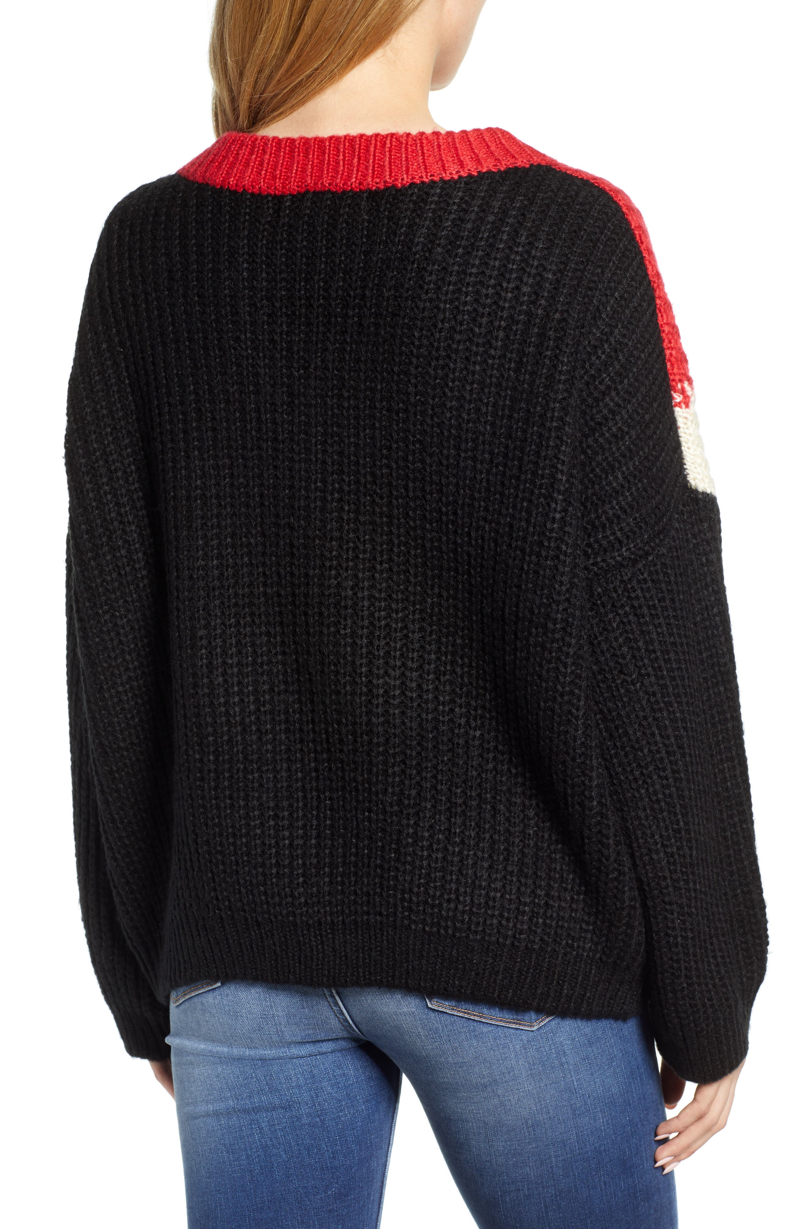 BISHOP + YOUNG,                             The Anthem Colorblock Shaker Sweater,                             Alternate thumbnail 2, color,                             BLACK