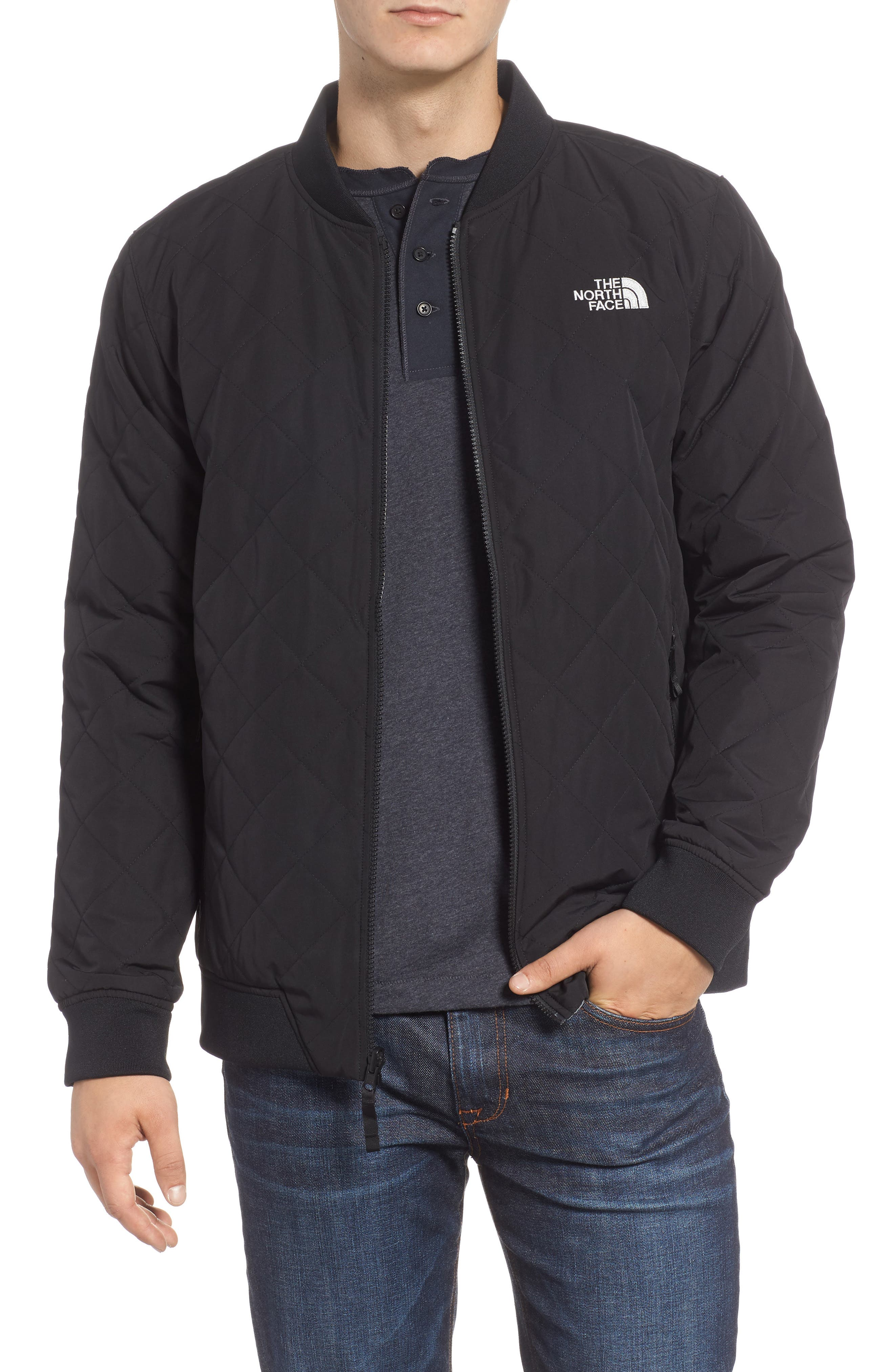 Jester Reversible Bomber Jacket,                             Main thumbnail 1, color,                             TNF BLACK