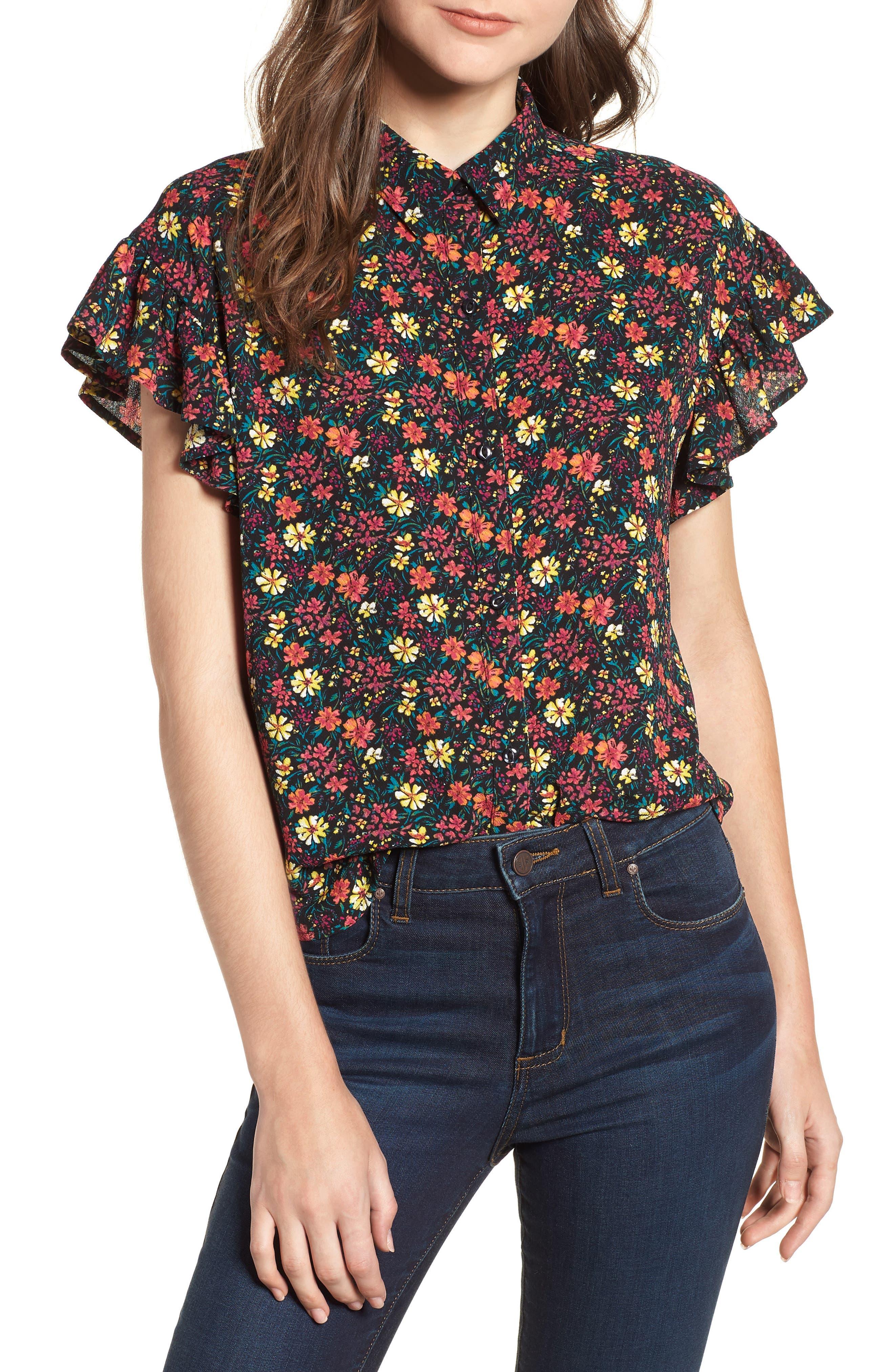Ruffle Sleeve Print Shirt,                         Main,                         color, BLACK MIX N MATCH A