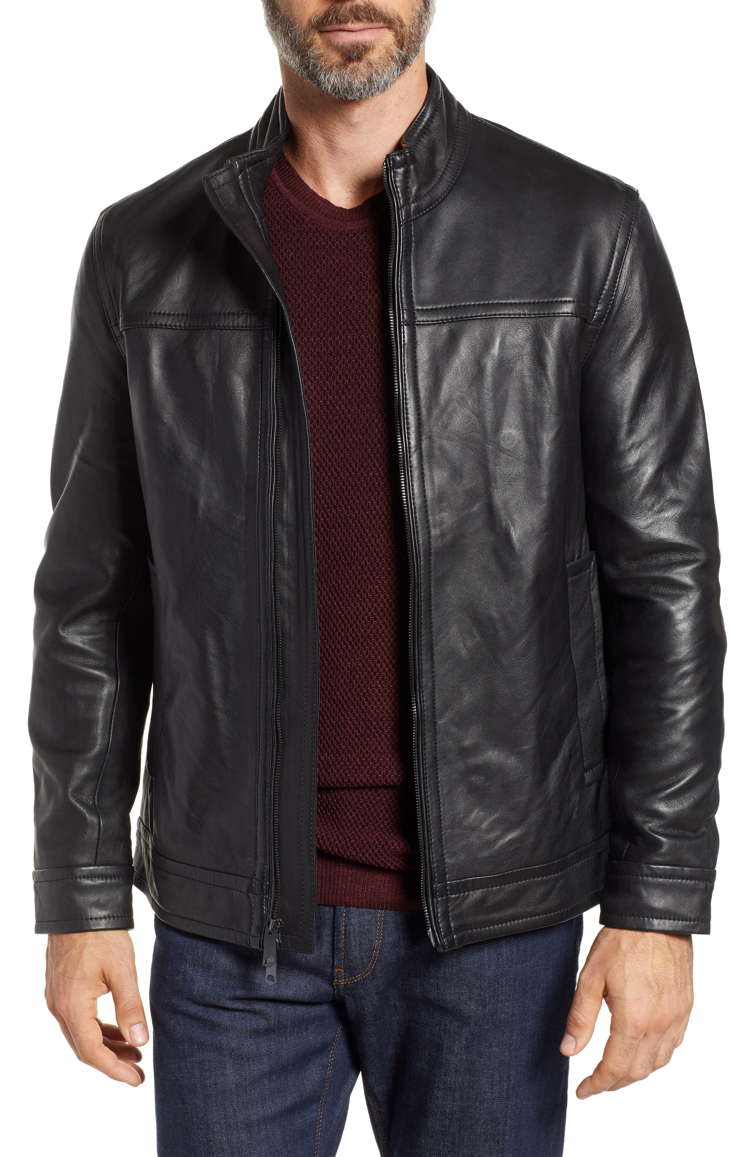 Napoleon Classic Leather Coat,                             Main thumbnail 1, color,                             BLACK