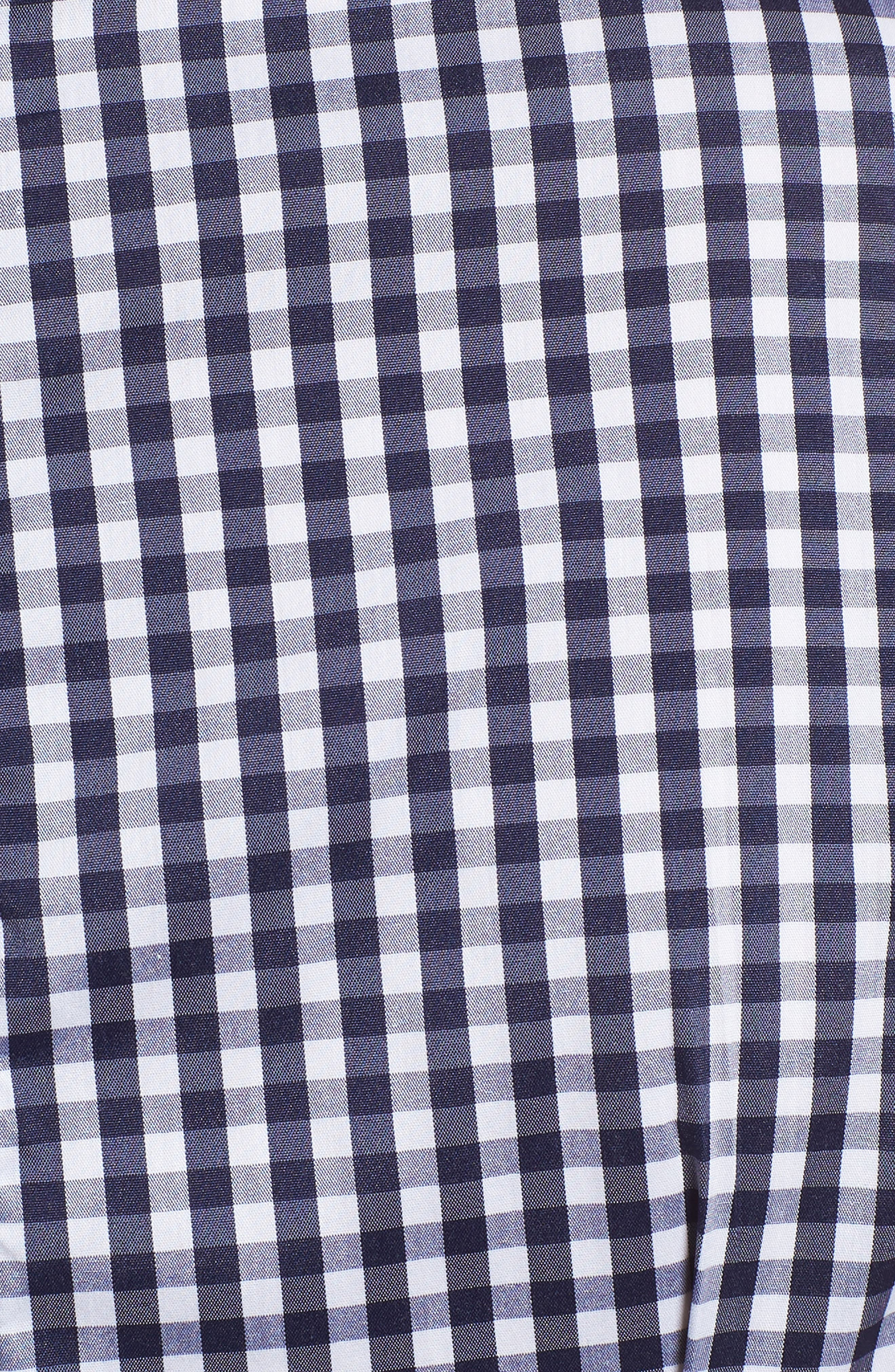 Gingham Ruched Poplin Top,                             Alternate thumbnail 5, color,                             401