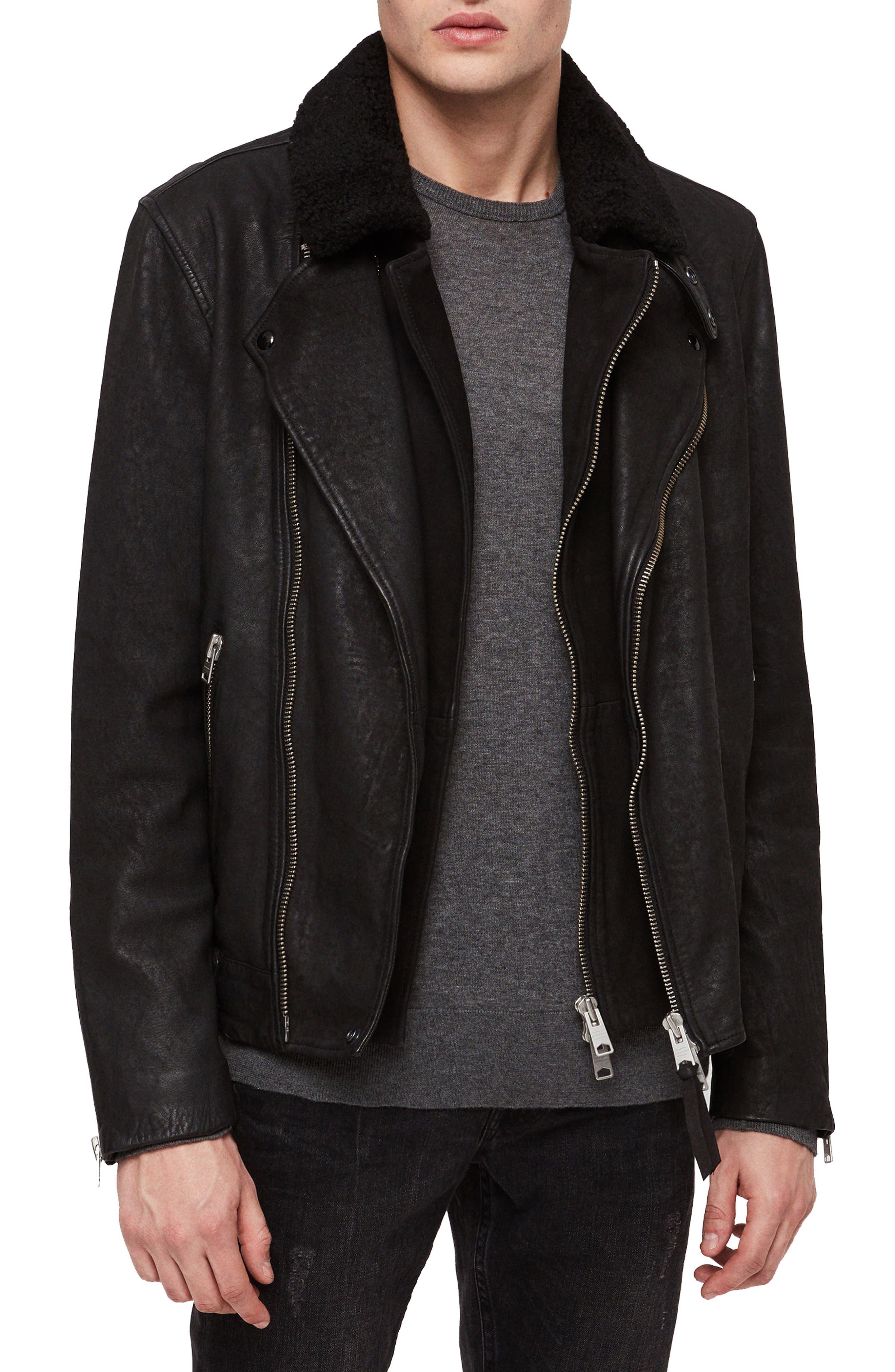 Hanoi Regular Fit Genuine Lambskin Shearling Trim Leather Biker Jacket,                         Main,                         color, 001
