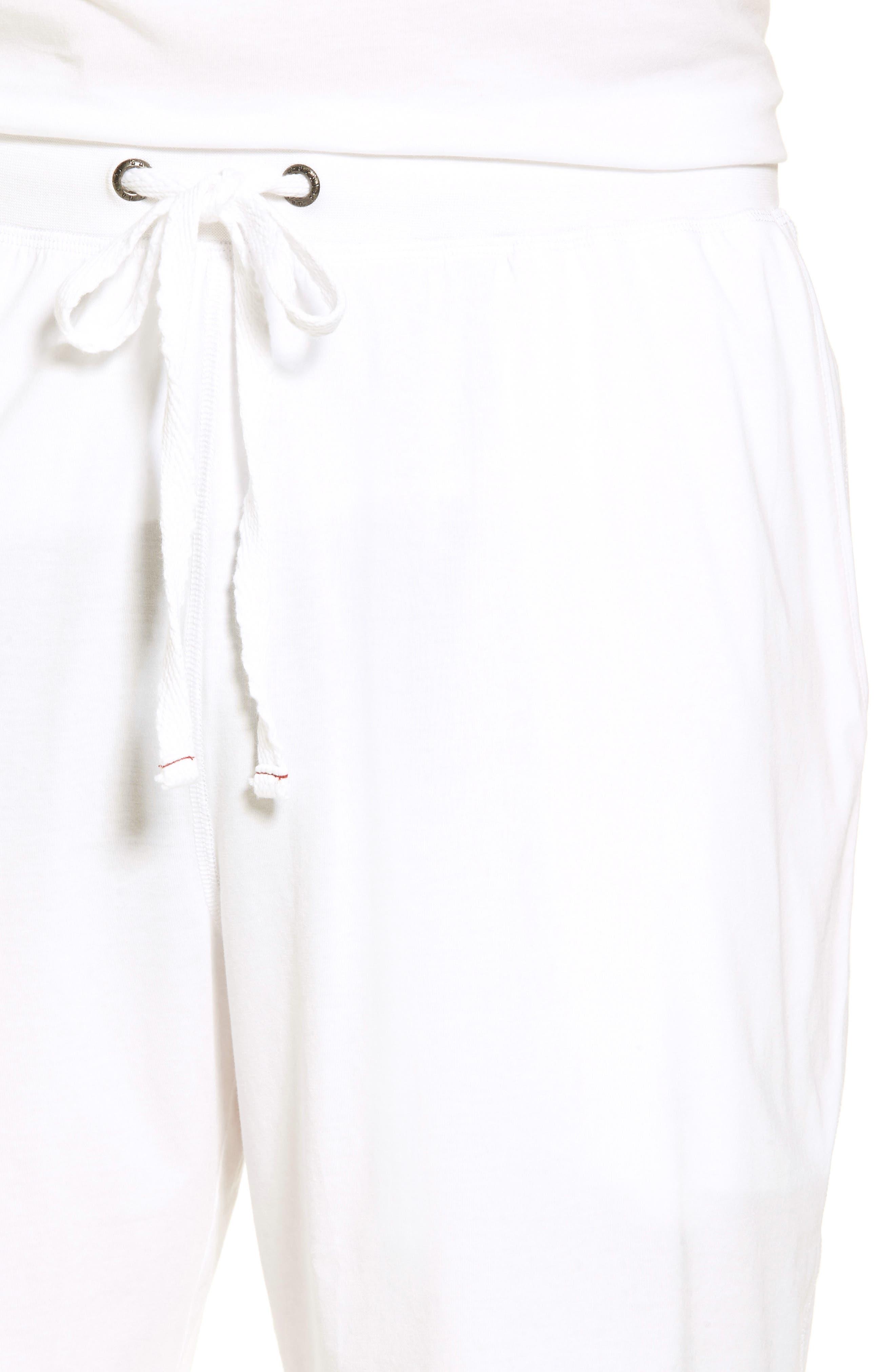Stretch Cotton Blend Lounge Shorts,                             Alternate thumbnail 4, color,                             100