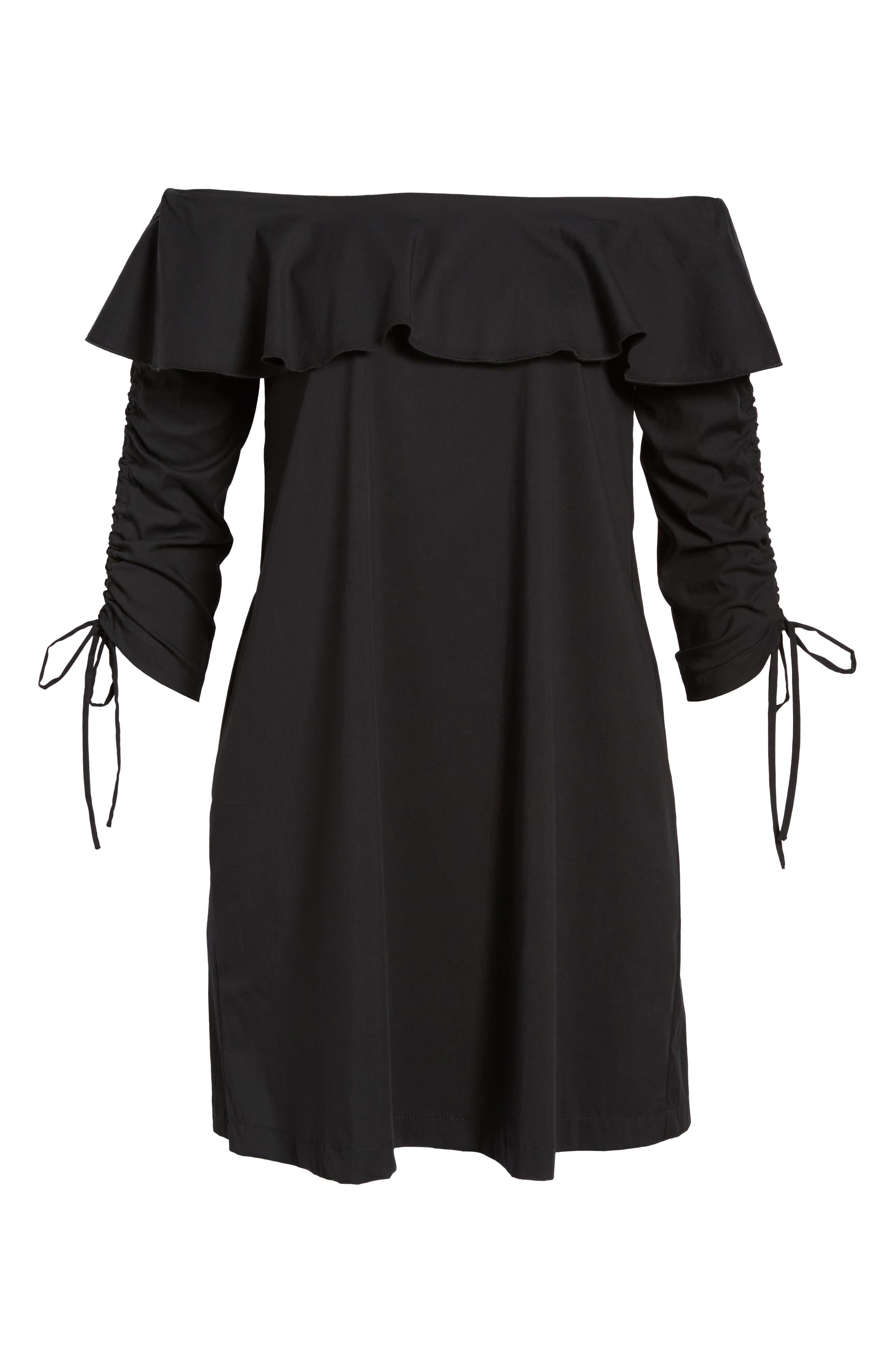 Cinch Sleeve Off the Shoulder Dress,                             Alternate thumbnail 6, color,                             001