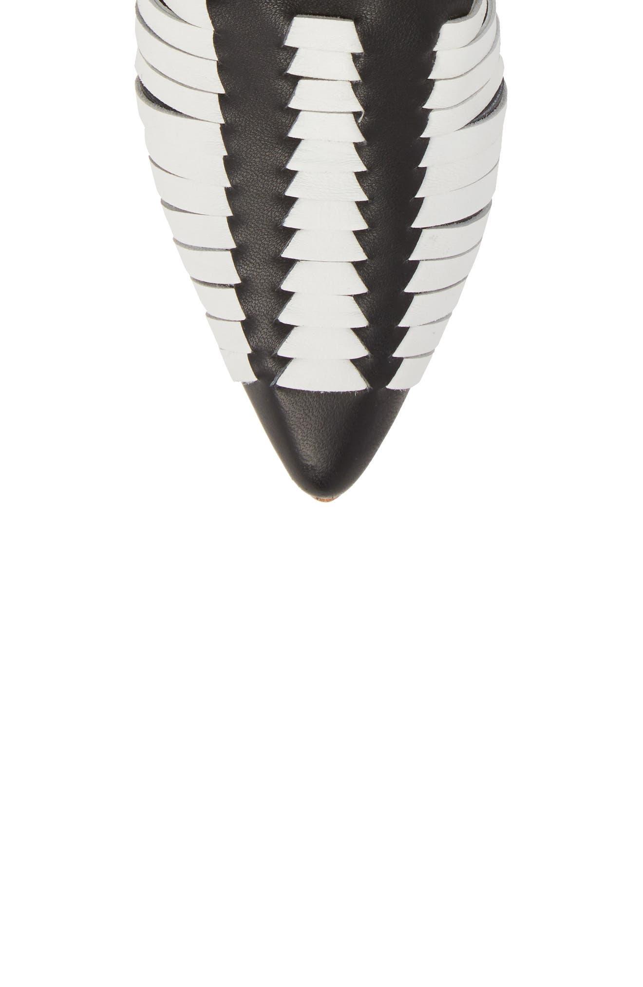 Hollis Huarache Ankle Tie Flat,                             Alternate thumbnail 5, color,                             BLACK/ WHITE LEATHER