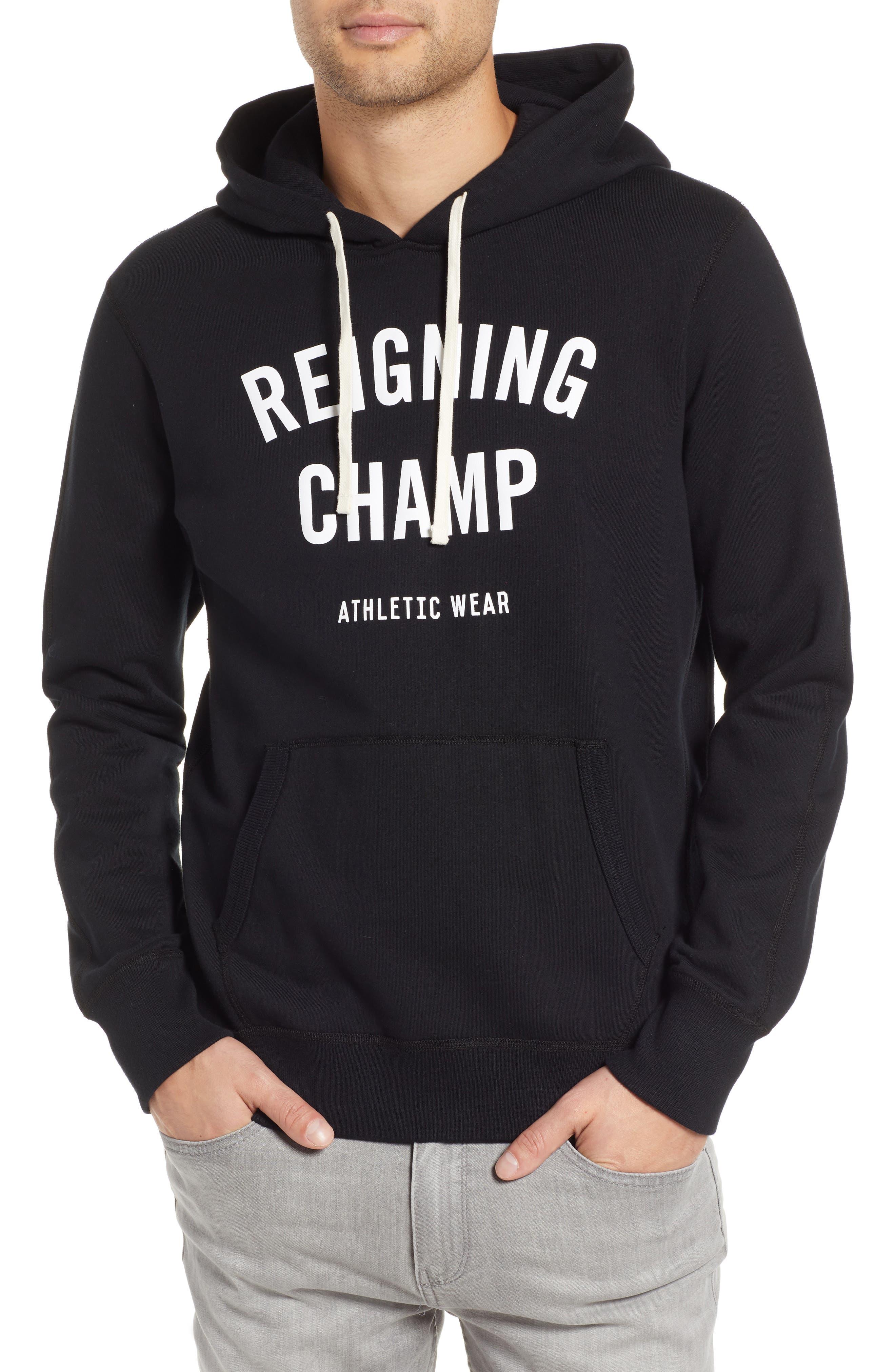 Gym Logo Hooded Sweatshirt,                         Main,                         color, BLACK/ WHITE