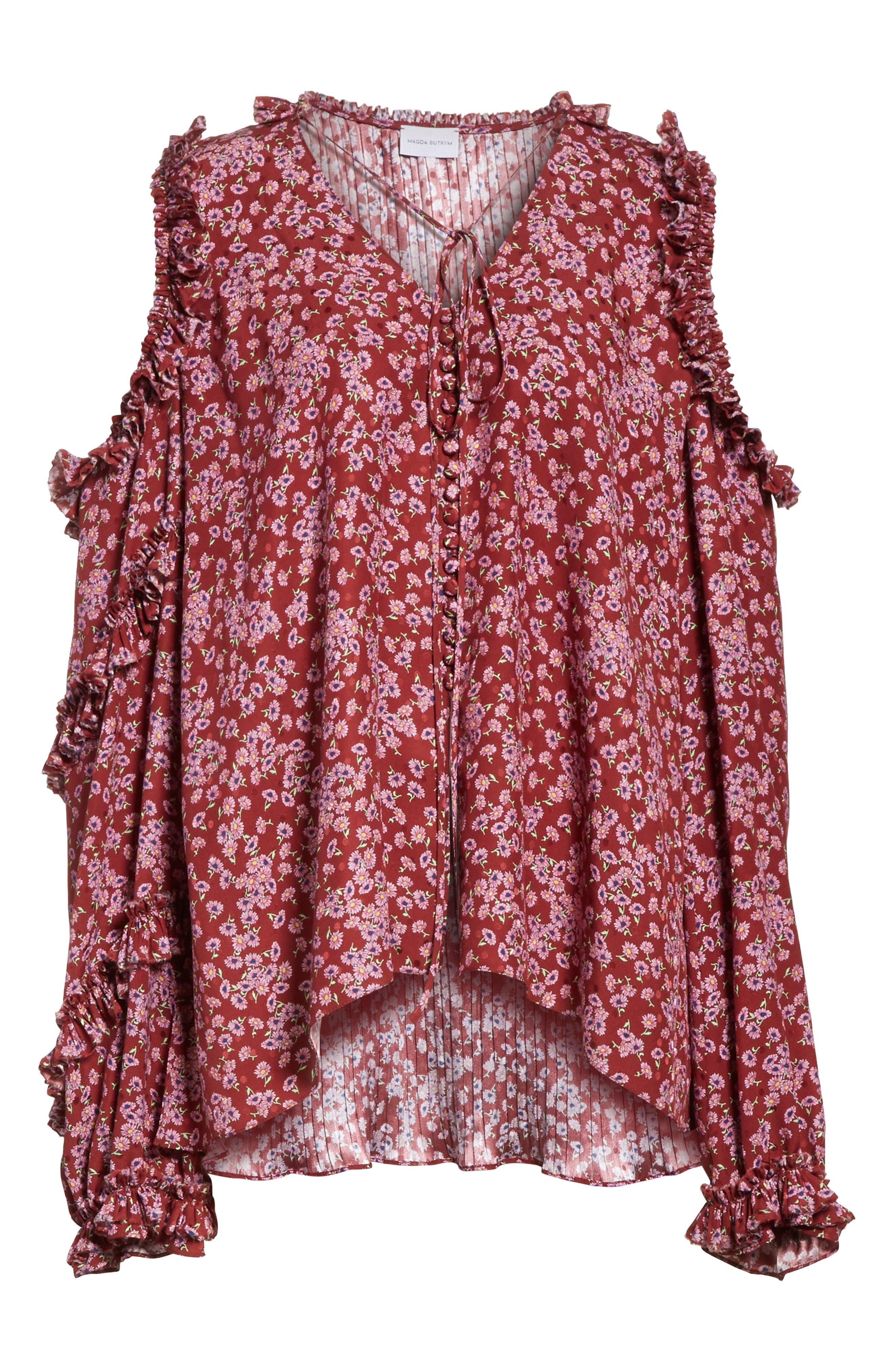 Floral Silk Cold Shoulder Top,                             Alternate thumbnail 6, color,                             930
