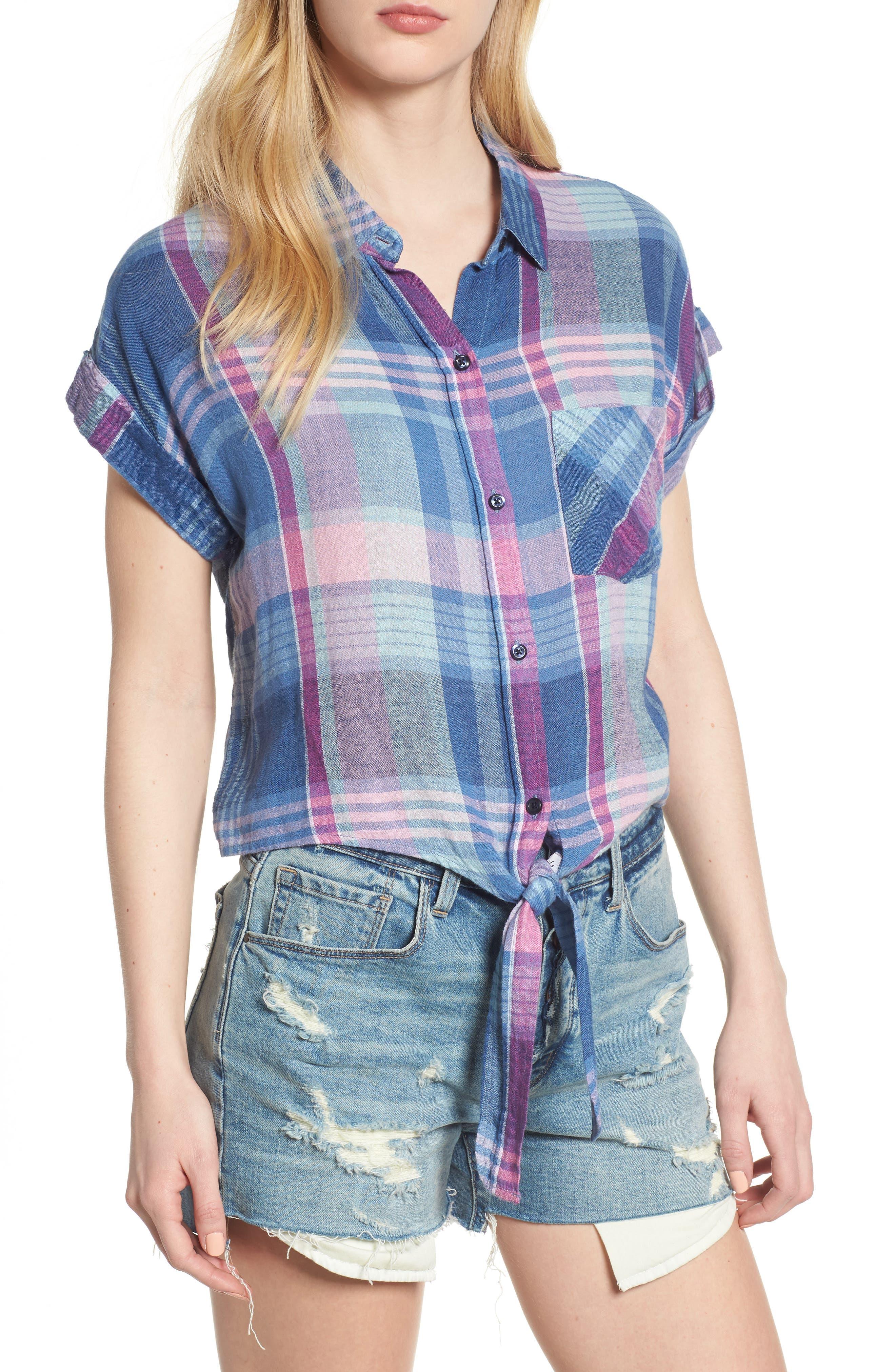 Amelie Tie Front Shirt,                         Main,                         color, LAGUNA COAST AZALEA