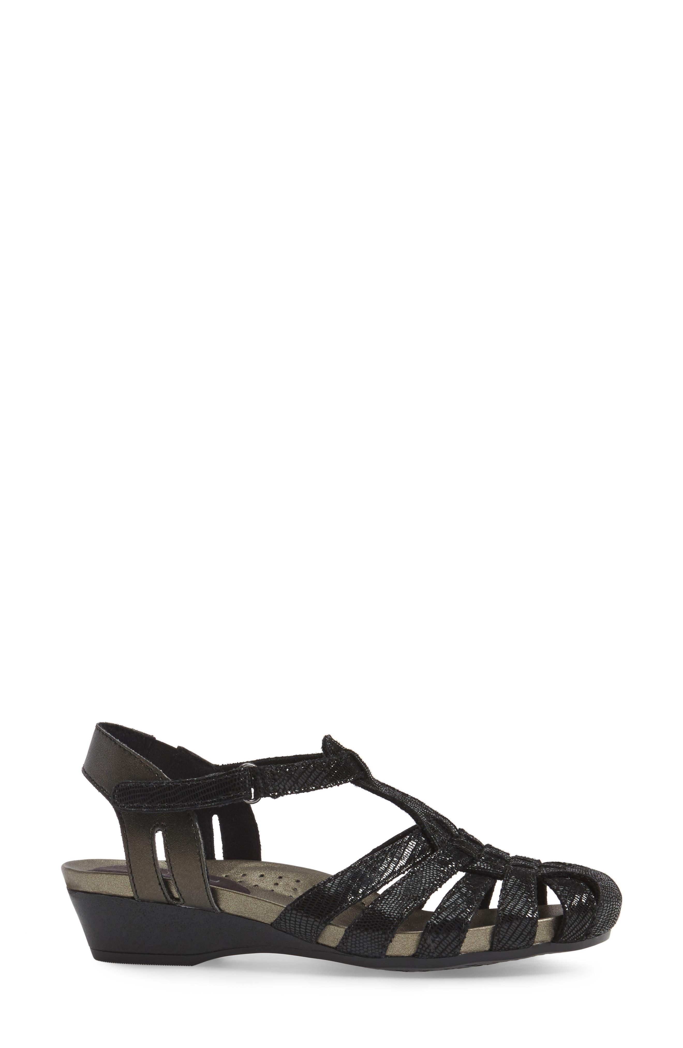 Standon Wedge Sandal,                             Alternate thumbnail 3, color,                             BLACK FABRIC
