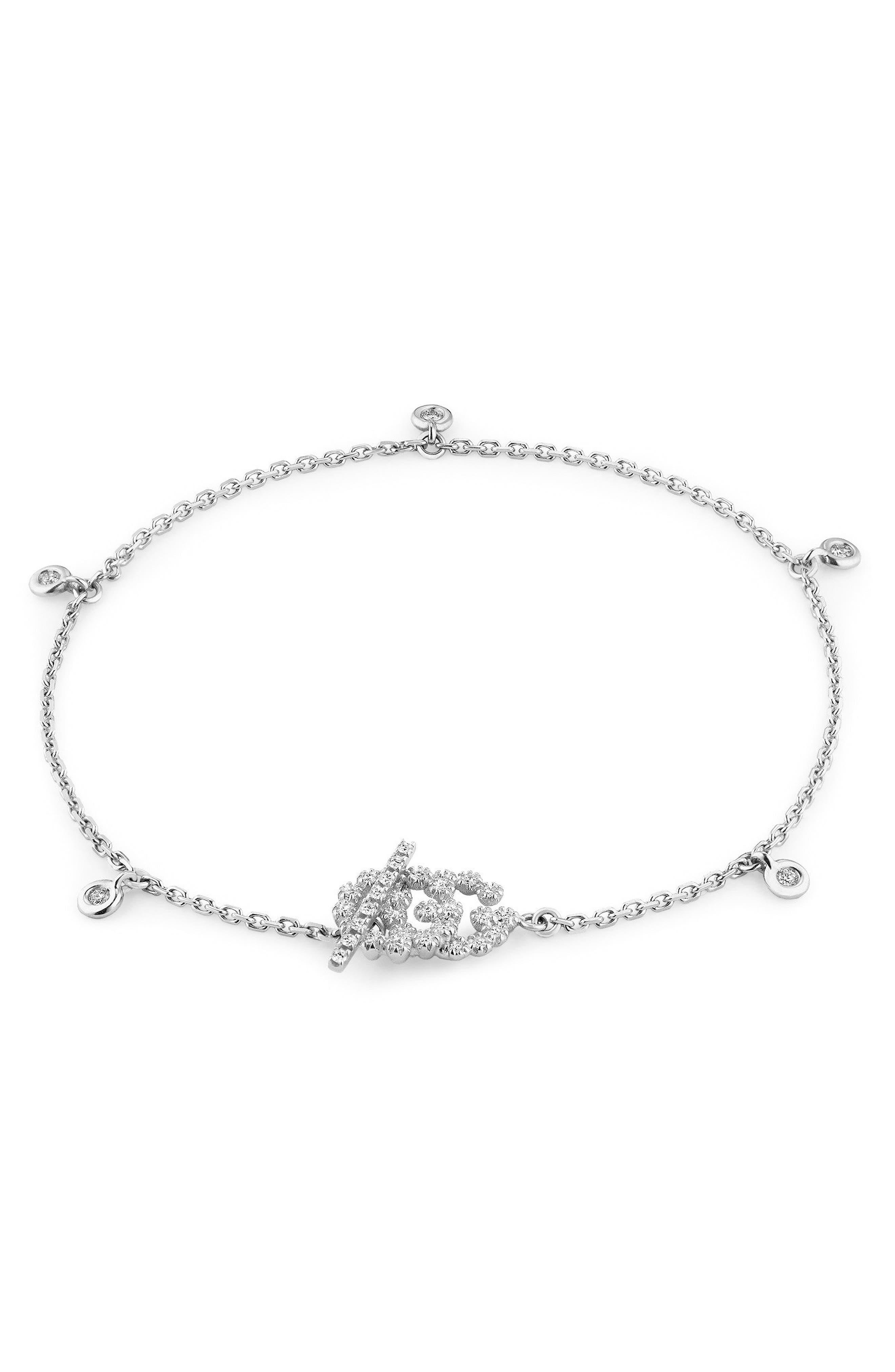 Double-G Diamond Line Bracelet, Main, color, WHITE GOLD
