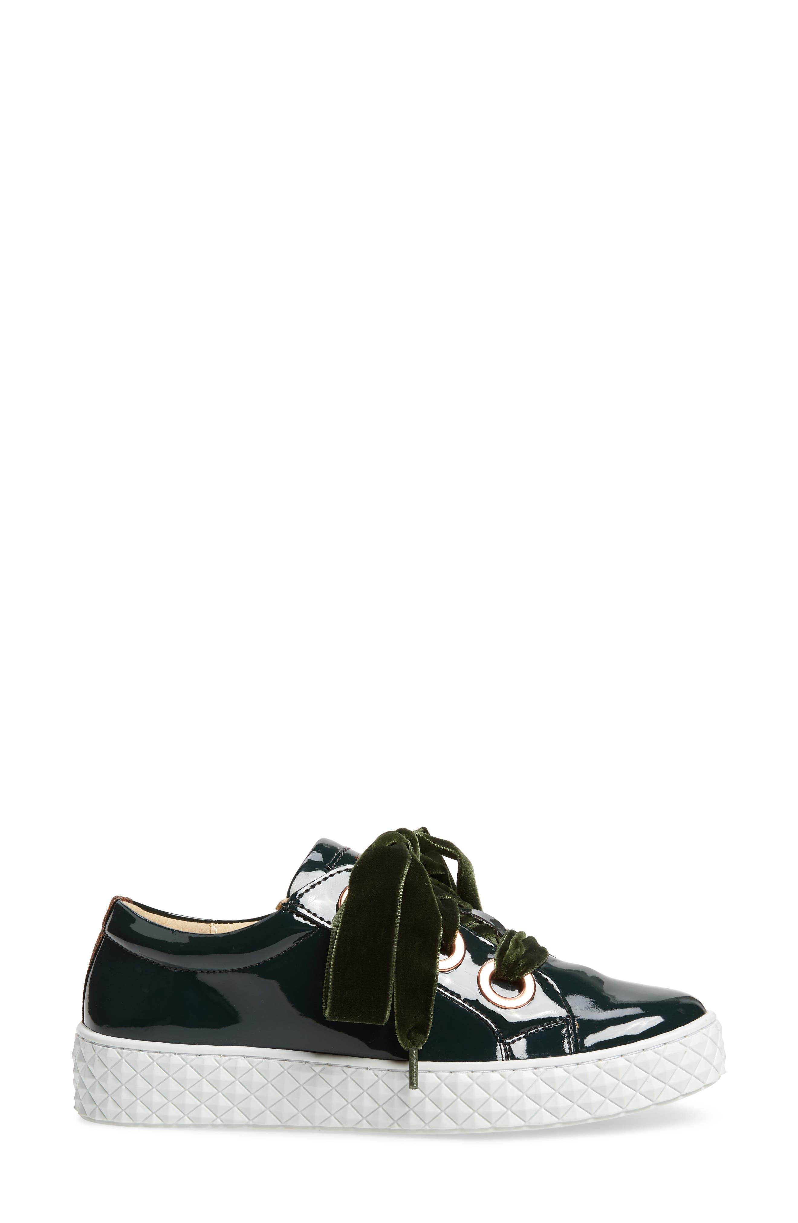 Acton III Sneaker,                             Alternate thumbnail 3, color,                             BOTTLE GREEN LEATHER