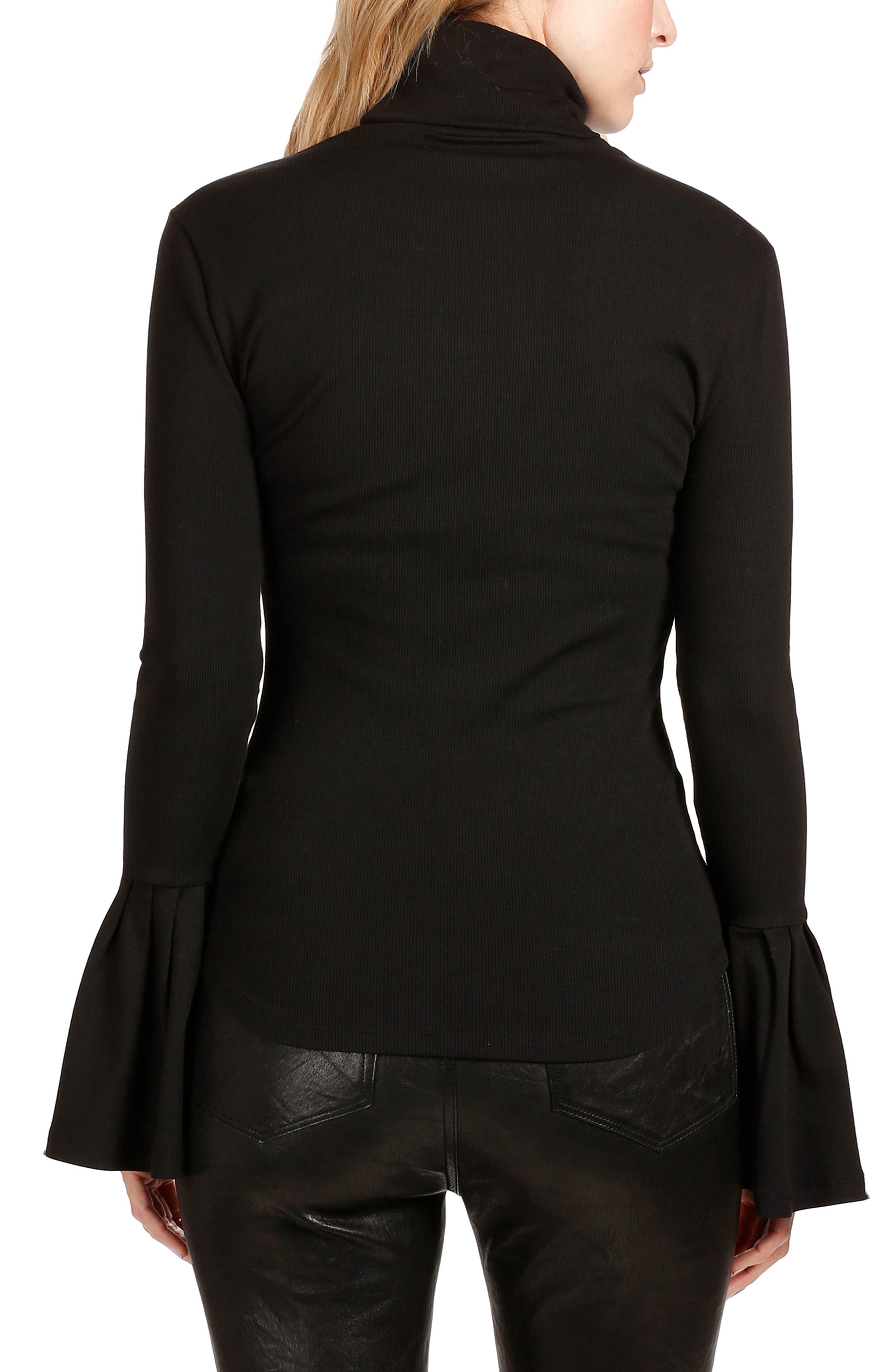 Kenzie Bell Sleeve Turtleneck,                             Alternate thumbnail 2, color,                             BLACK