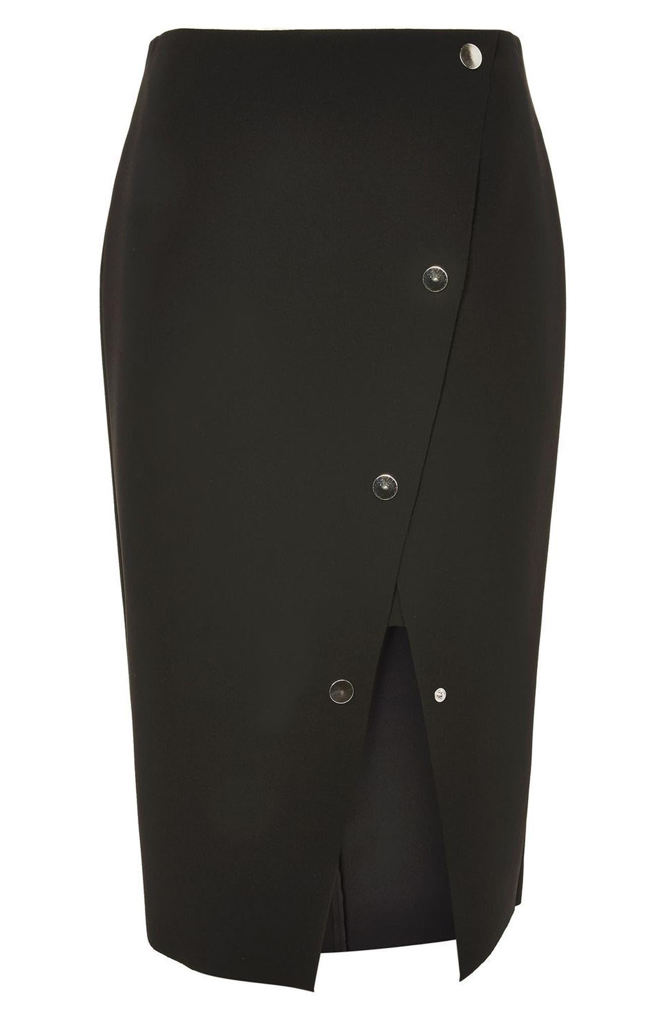 Snap Midi Skirt,                             Alternate thumbnail 3, color,                             001