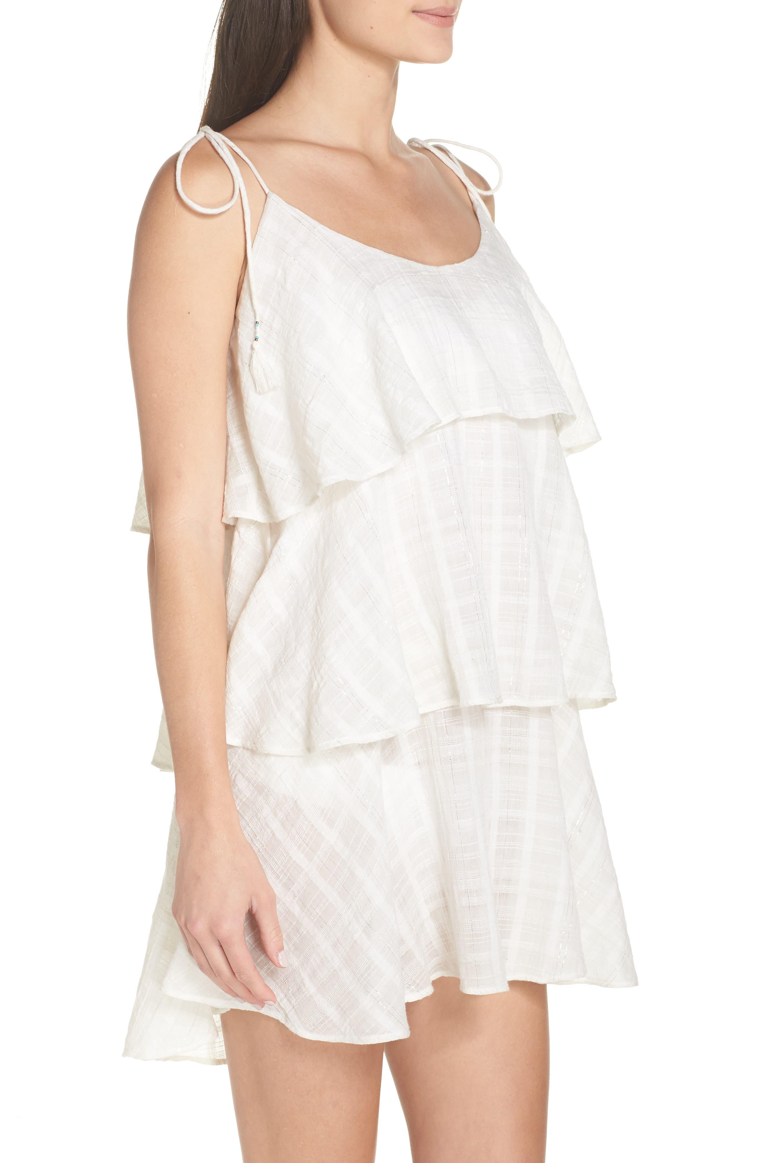 Mariah Ruffled Cover-Up Dress,                             Alternate thumbnail 3, color,                             WHITE-SILVER