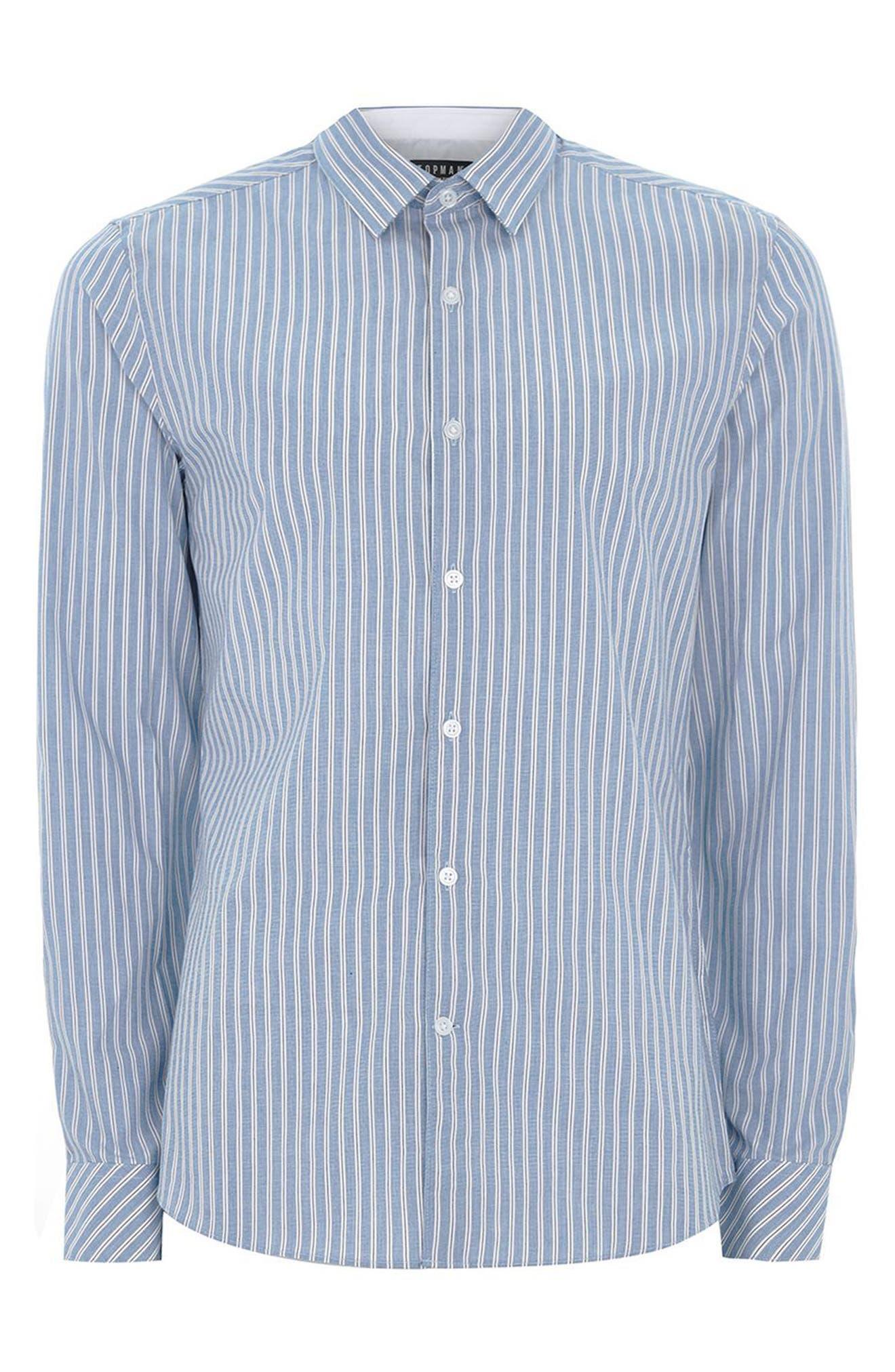 Classic Fit Stripe Smart Shirt,                             Alternate thumbnail 4, color,                             BLUE MULTI