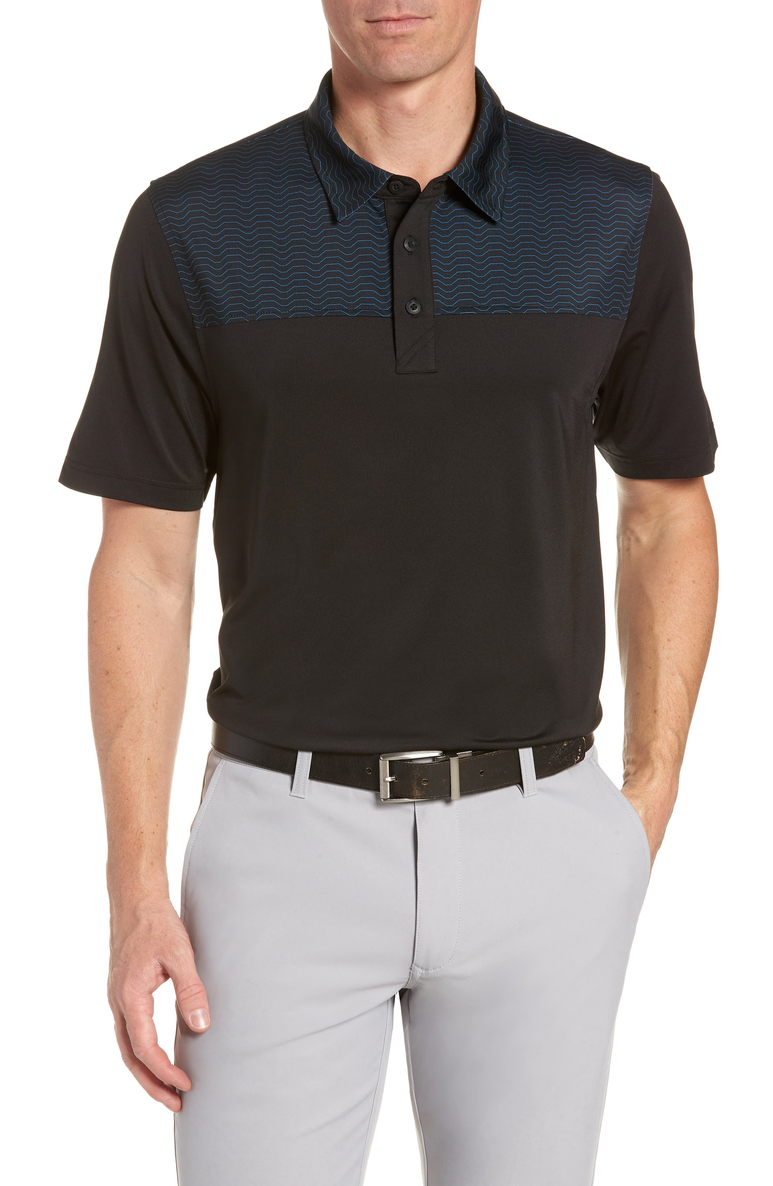 Cutter & Buck Kevin Wave Print Polo, Black