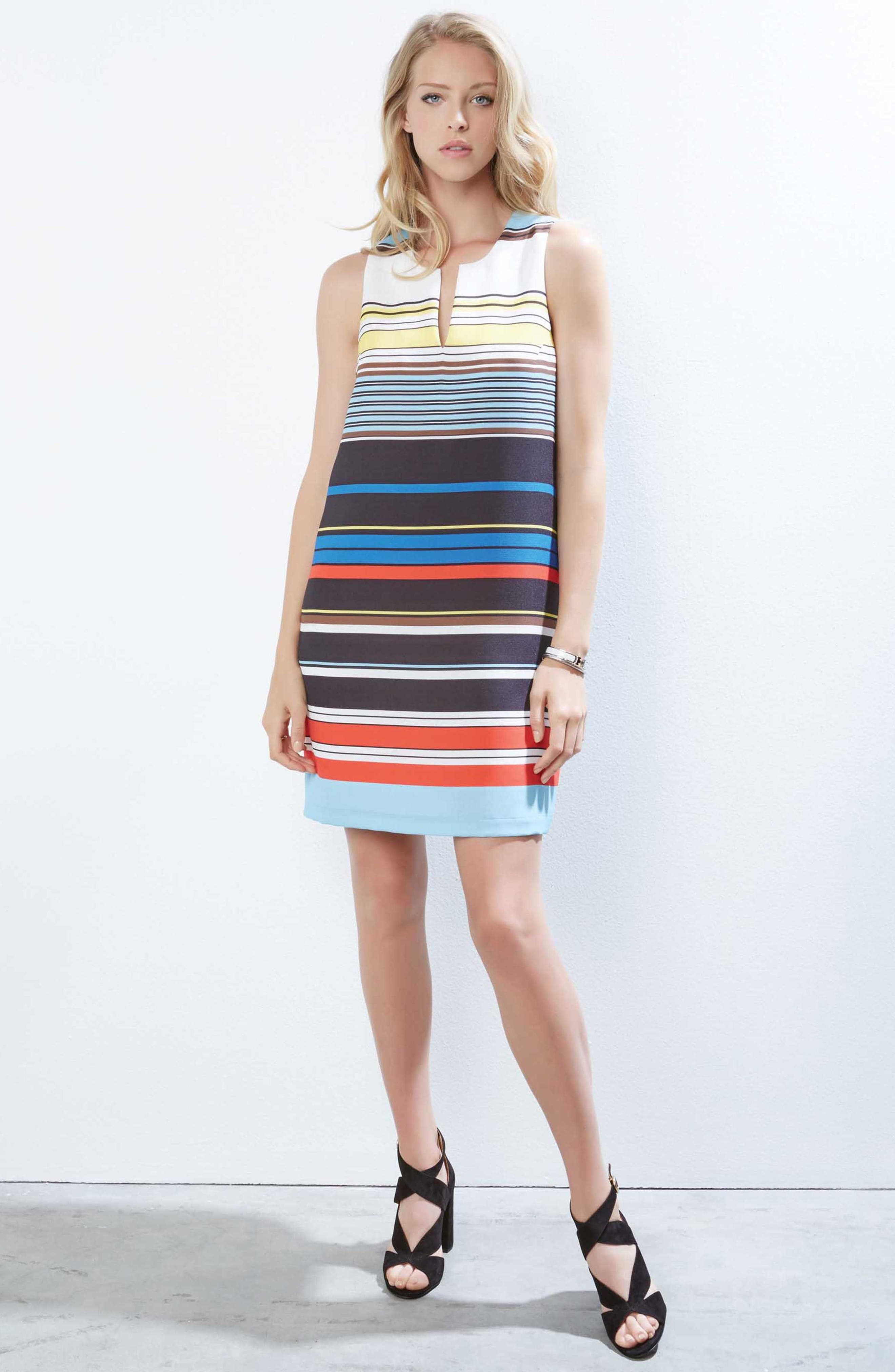 Modern Art Shift Dress,                             Alternate thumbnail 3, color,                             STRIPED