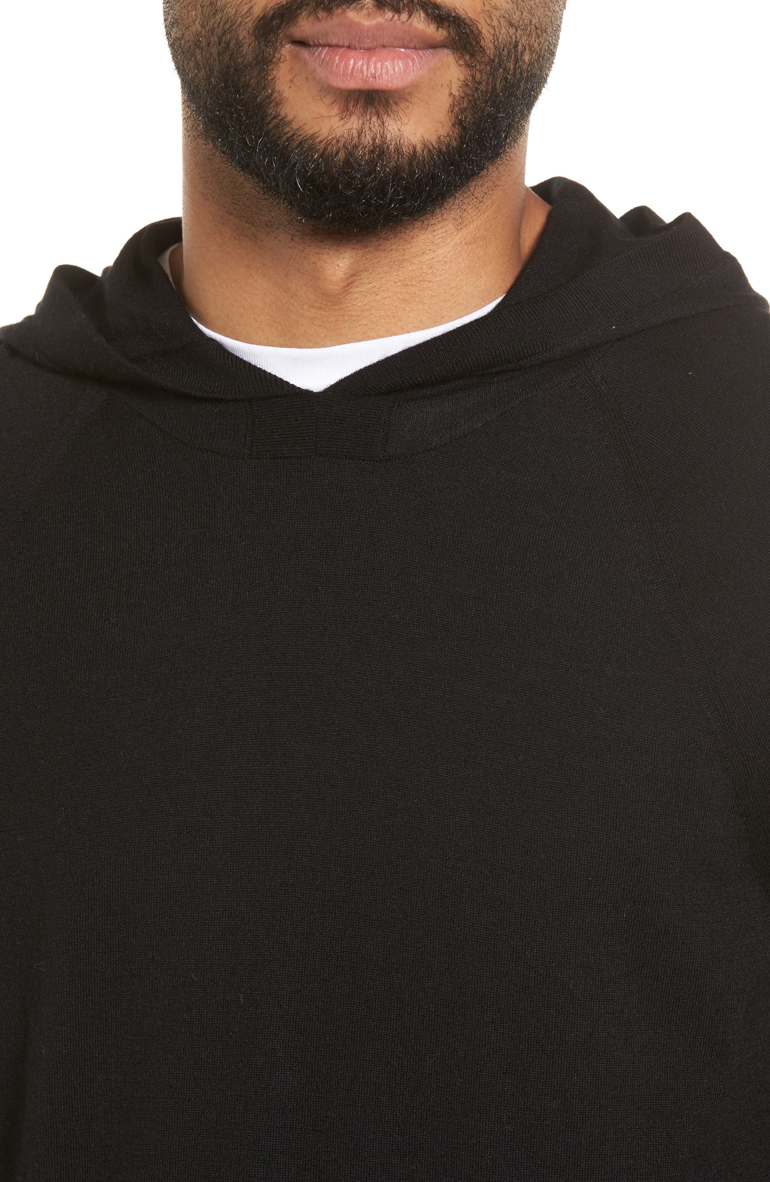 Wool & Cashmere Hoodie,                             Alternate thumbnail 4, color,                             001