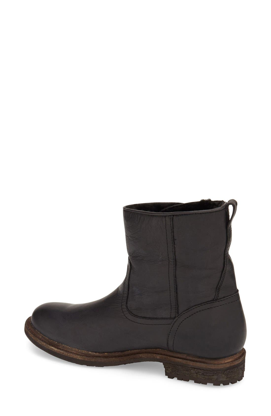 'Mara' Button Genuine Shearling Lined Short Boot,                             Alternate thumbnail 2, color,                             001