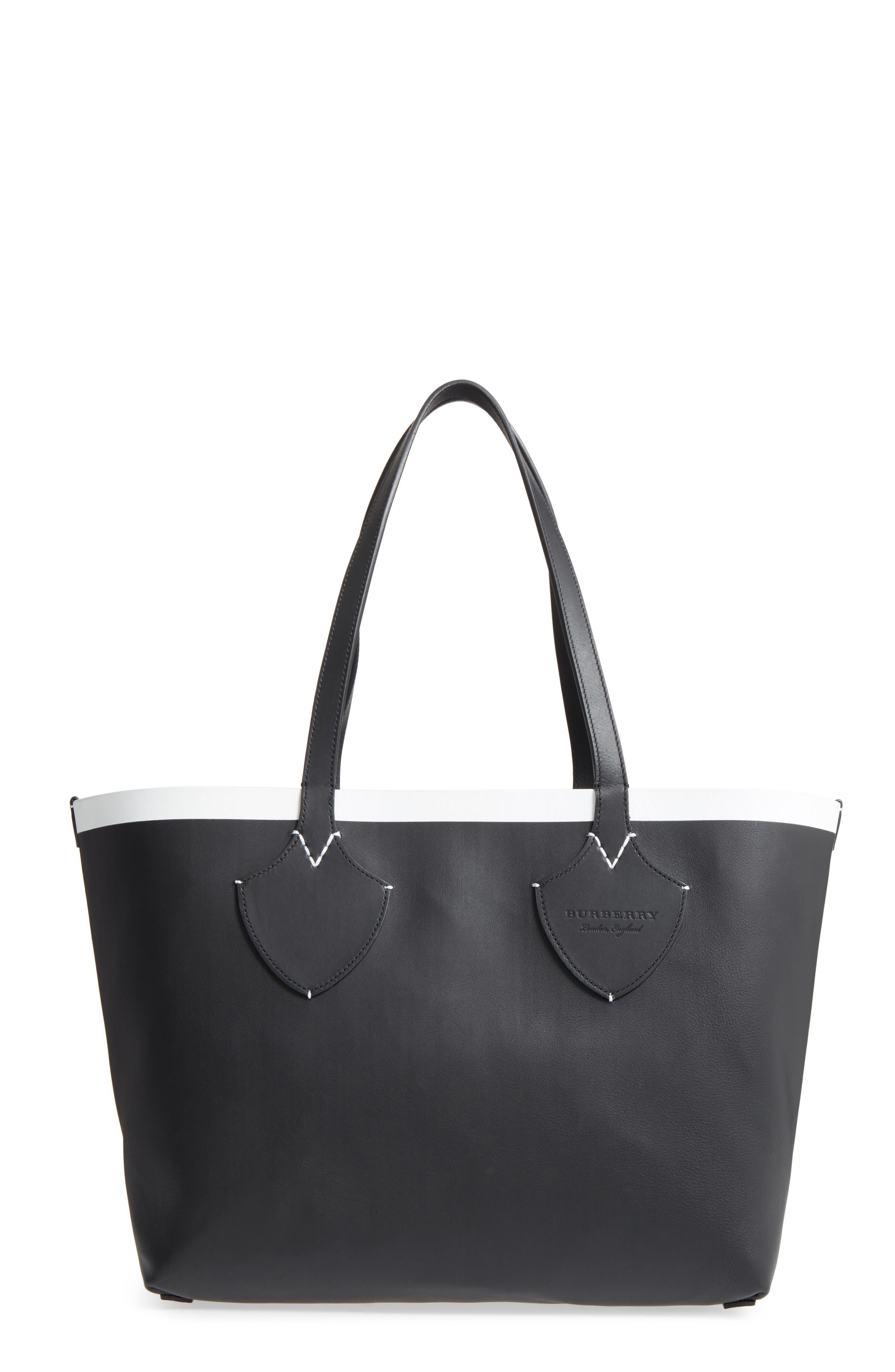 Medium Reversible Leather & Check Canvas Tote,                             Main thumbnail 1, color,                             BLACK/ WHITE