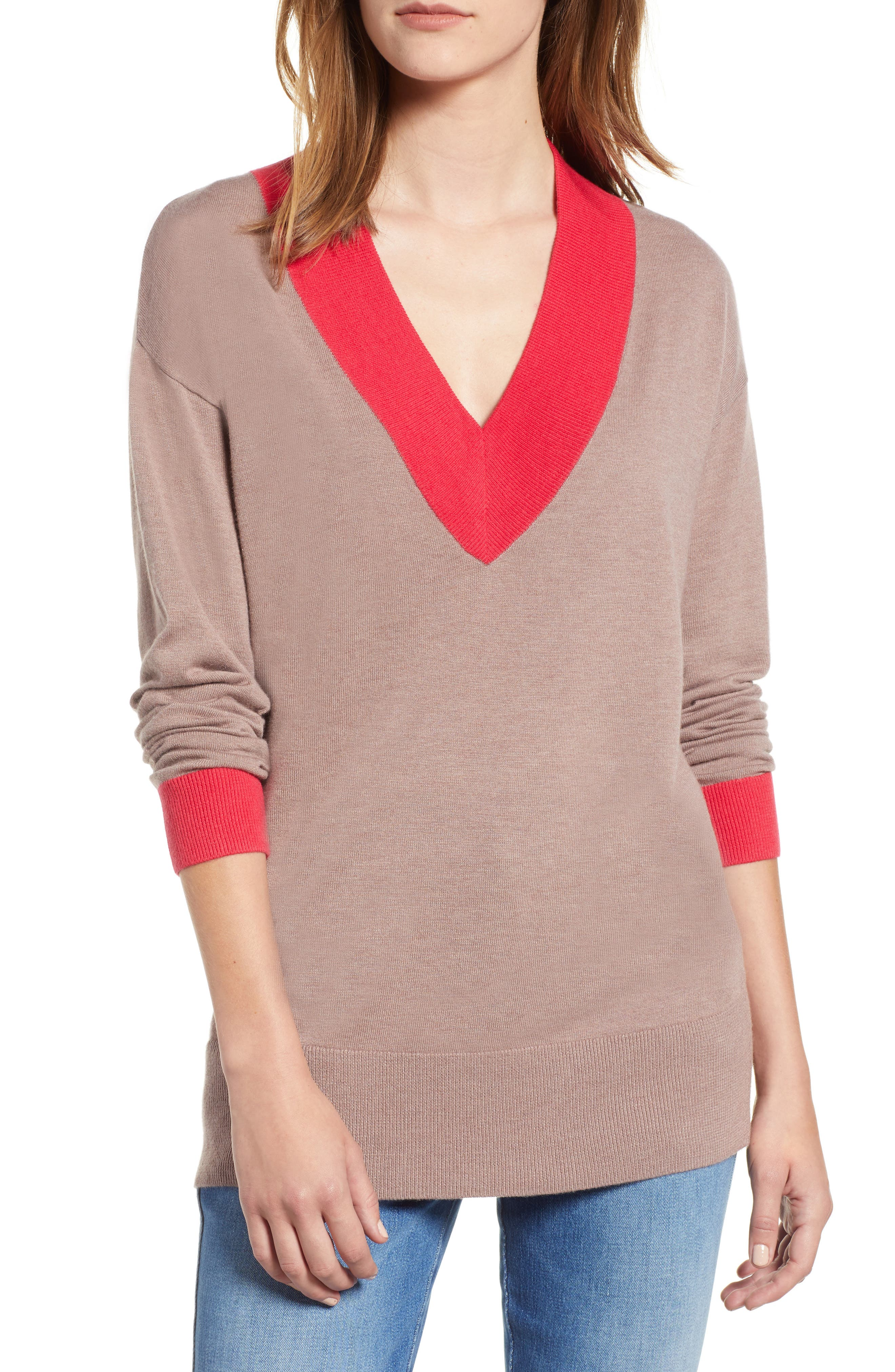 CHELSEA28,                             V-Neck Sweater,                             Main thumbnail 1, color,                             PINK FAWN HEATHER COMBO