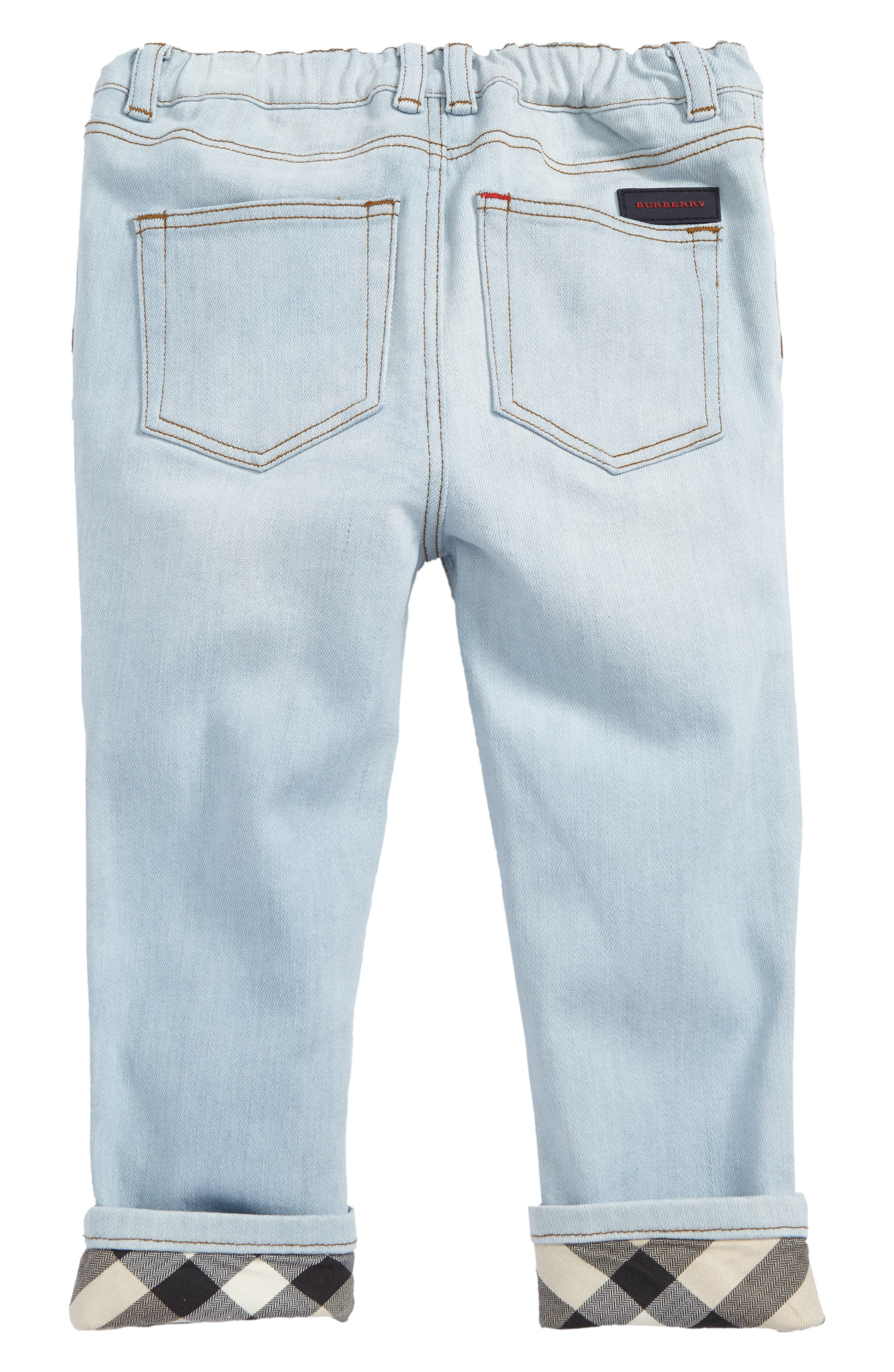 Check Cuff Relaxed Jeans,                             Alternate thumbnail 6, color,