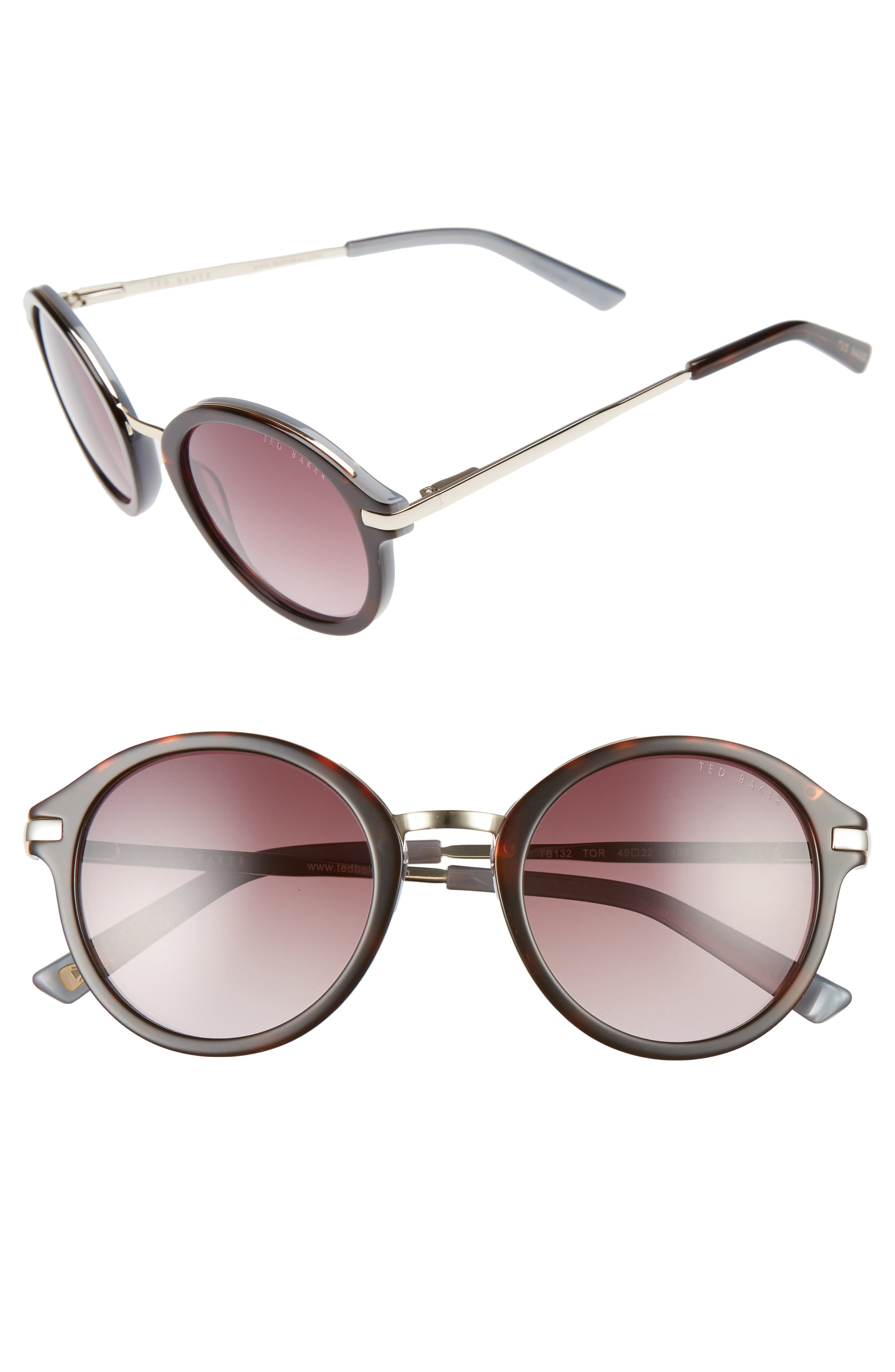 49mm Round Sunglasses,                             Main thumbnail 3, color,