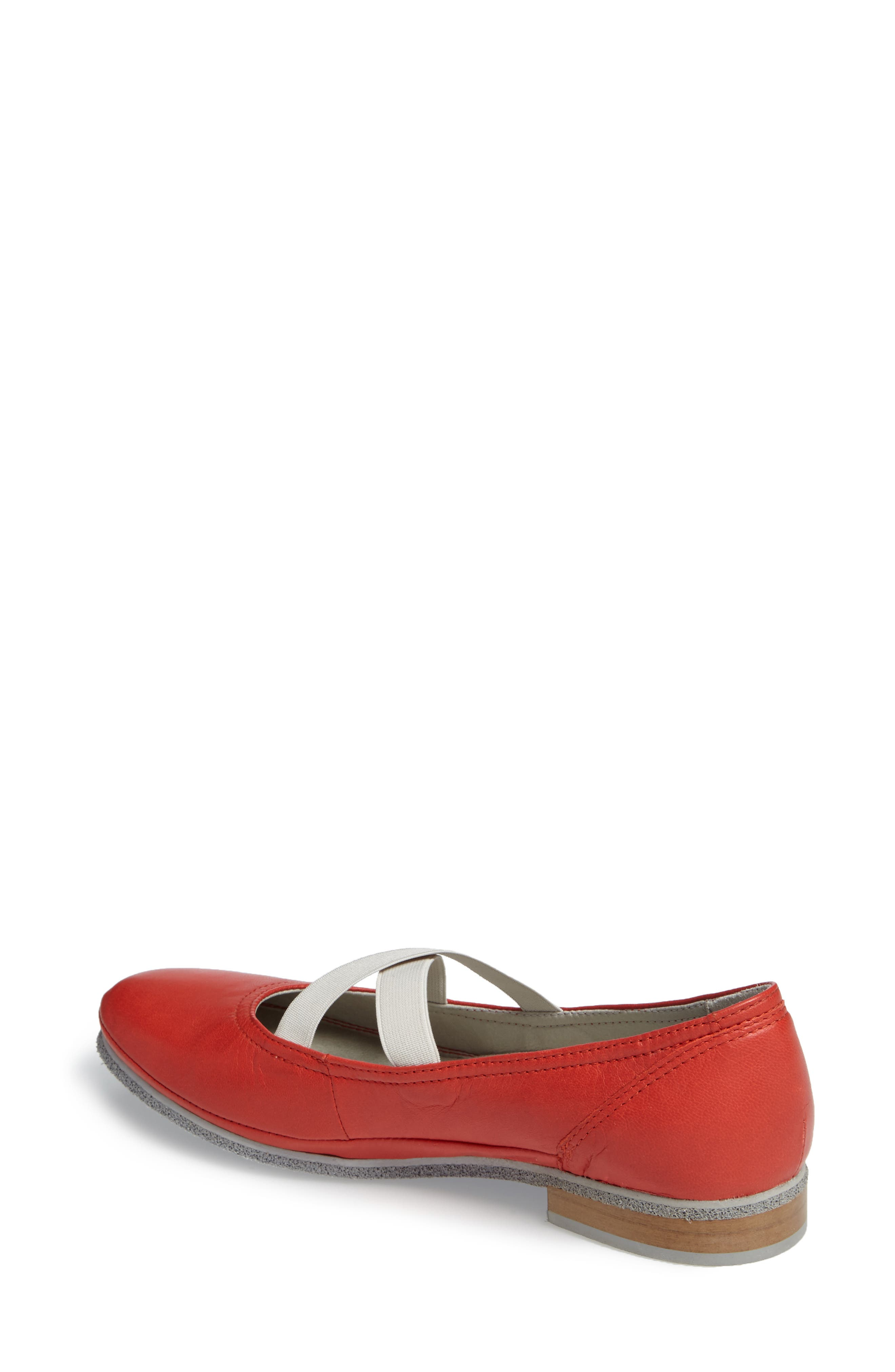CLOUD,                             Ballet Strappy Flat,                             Alternate thumbnail 2, color,                             RED LEATHER