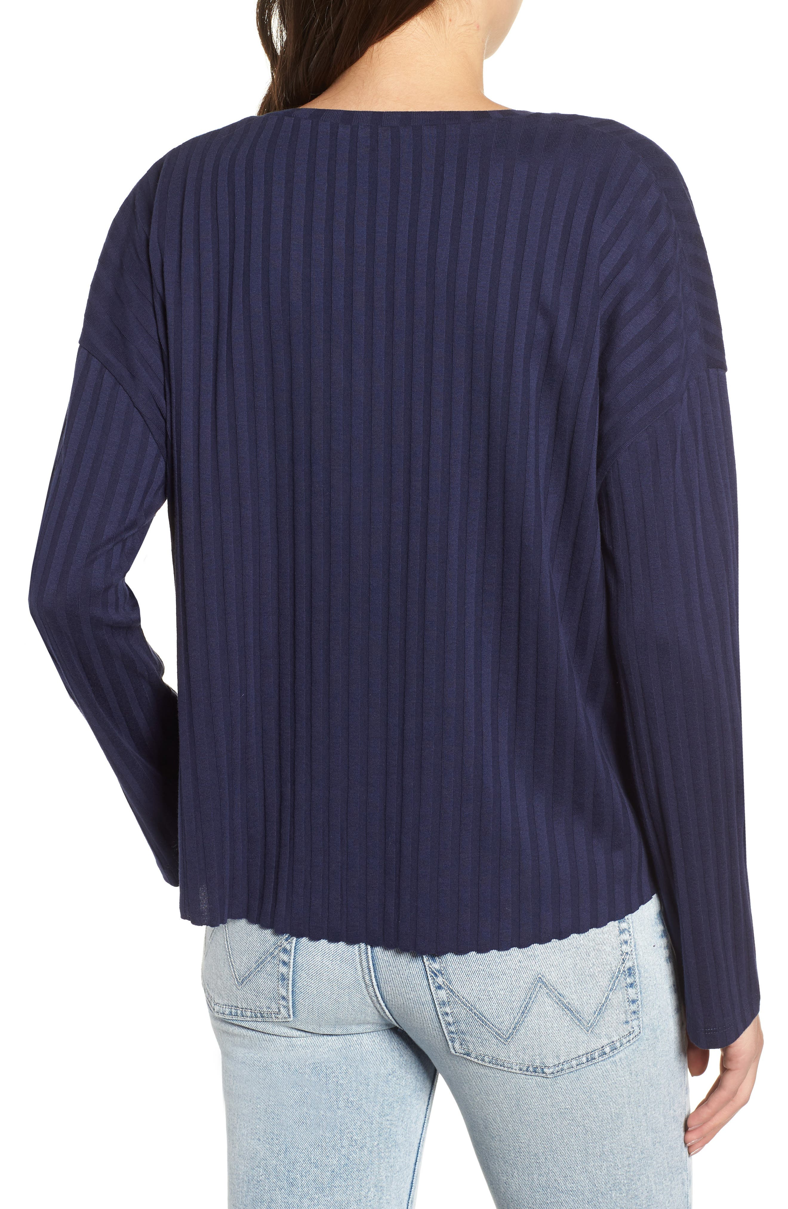 Wide Rib Crop Sweater,                             Alternate thumbnail 2, color,                             NAVY MARITIME