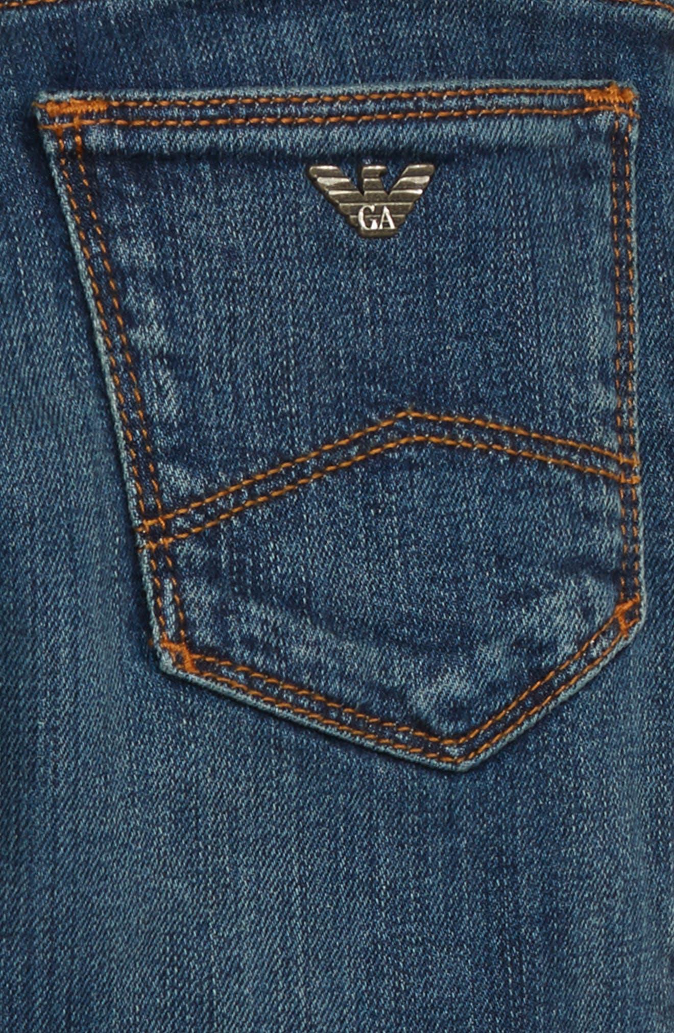 ARMANI JUNIOR,                             Denim Jeans,                             Alternate thumbnail 3, color,                             SOLID DARK BLUE
