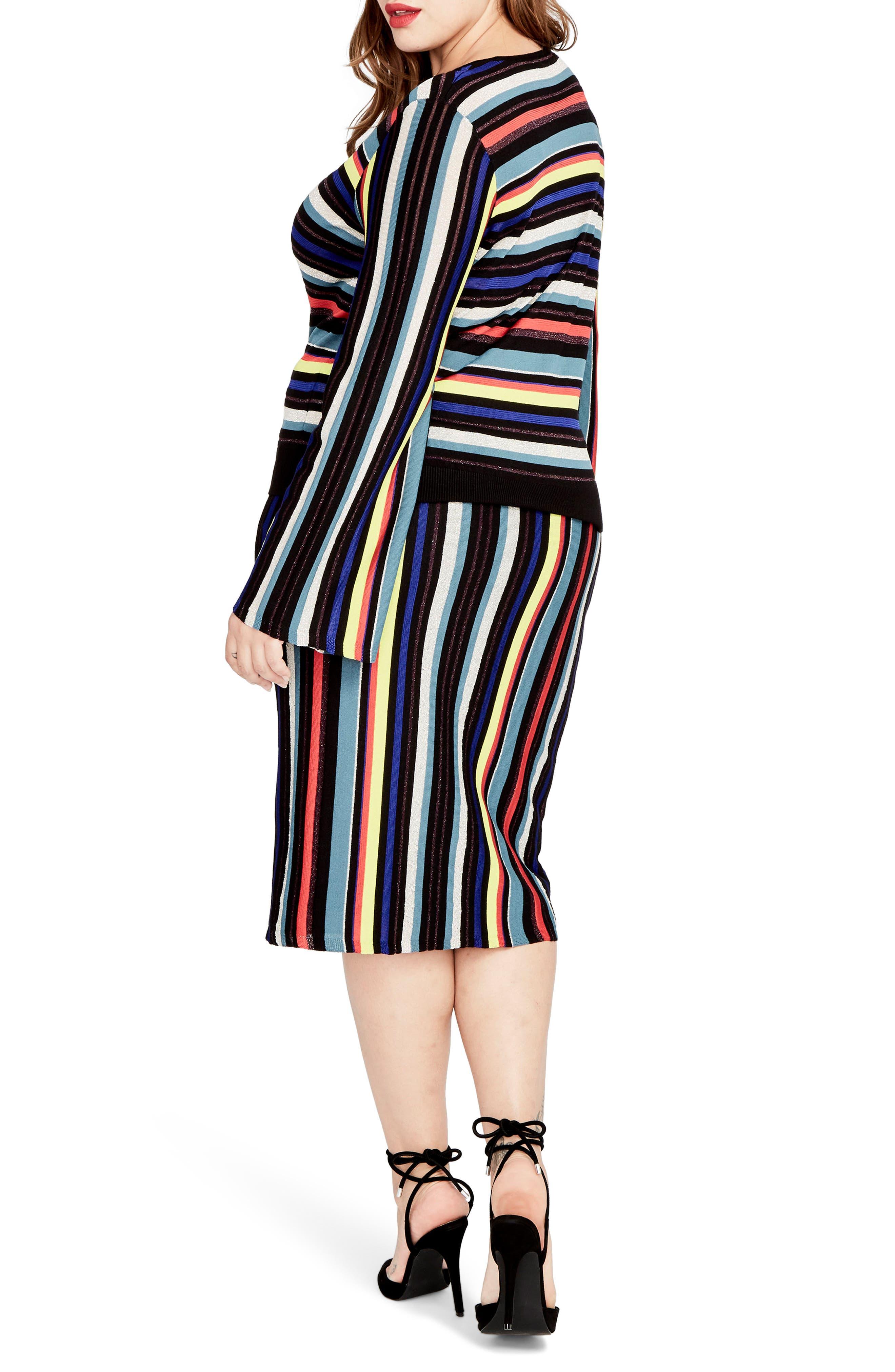 Multistripe Knit Skirt,                             Alternate thumbnail 3, color,                             014