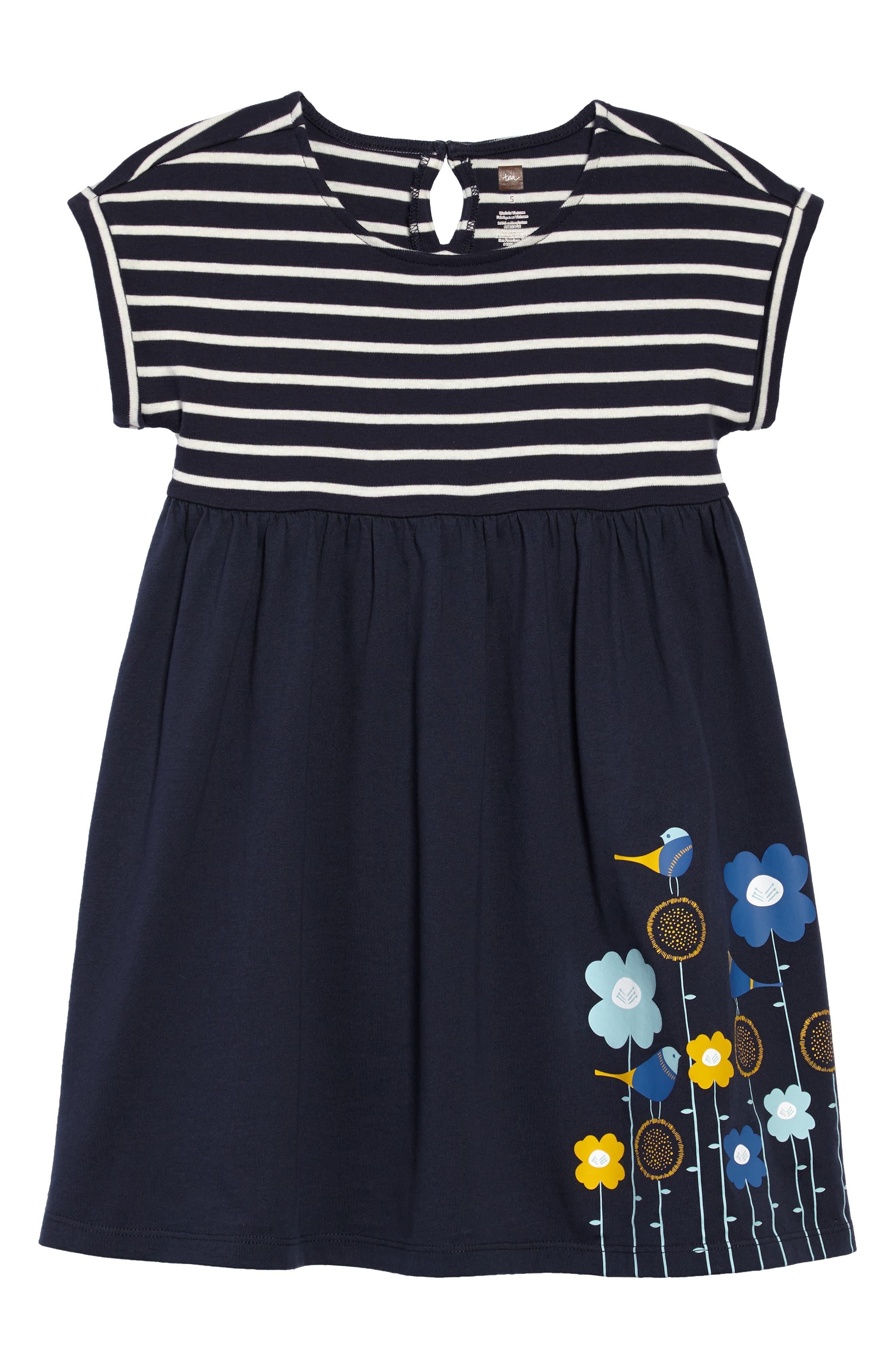 Stripe & Floral Print Dress,                         Main,                         color, 411
