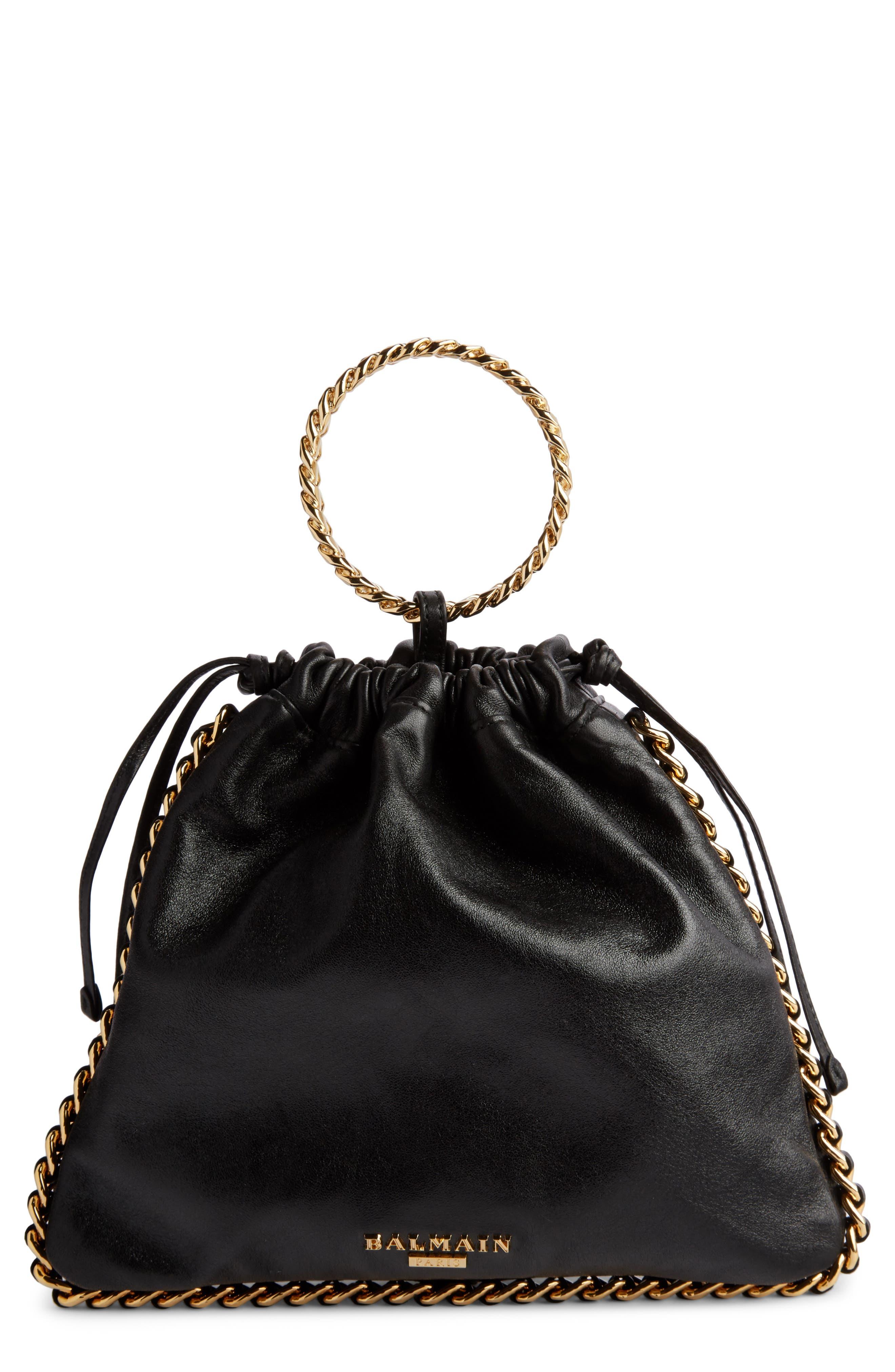 Leather Bracelet Backpack,                         Main,                         color, NOIR
