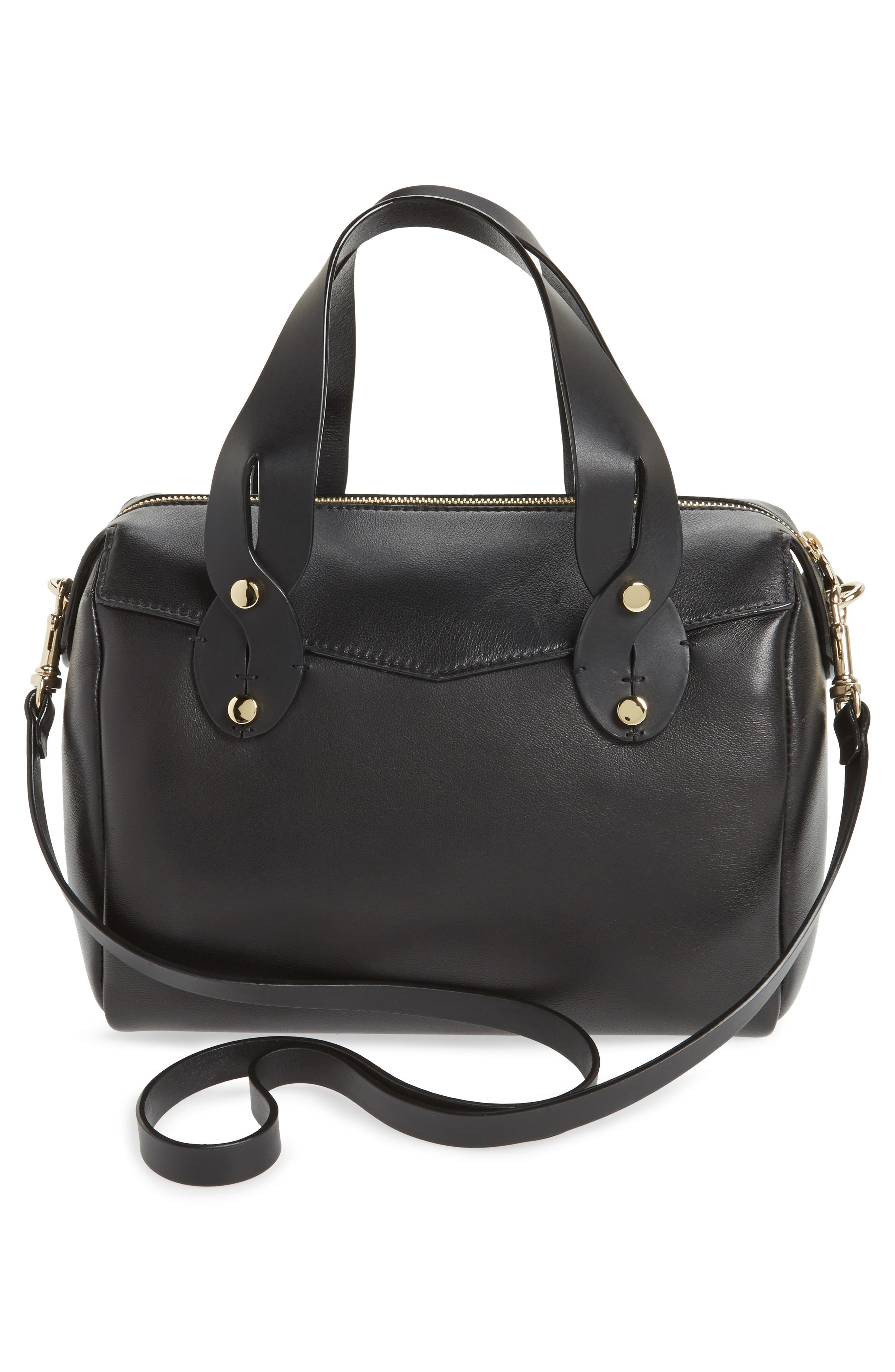 Small Allie Nappa Leather Bowling Bag,                             Alternate thumbnail 3, color,                             001