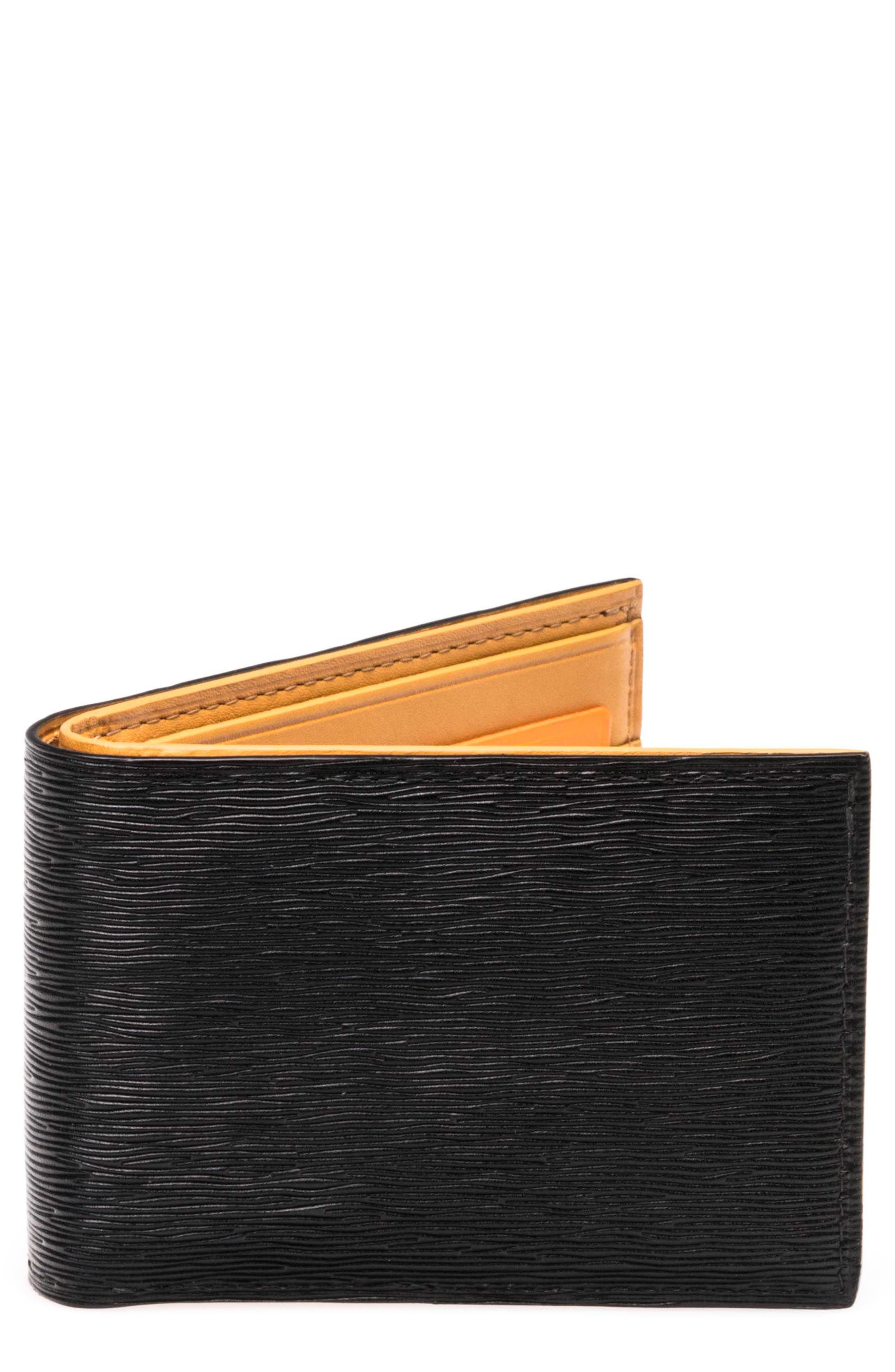 Slim Leather Bifold Wallet,                             Main thumbnail 1, color,                             001