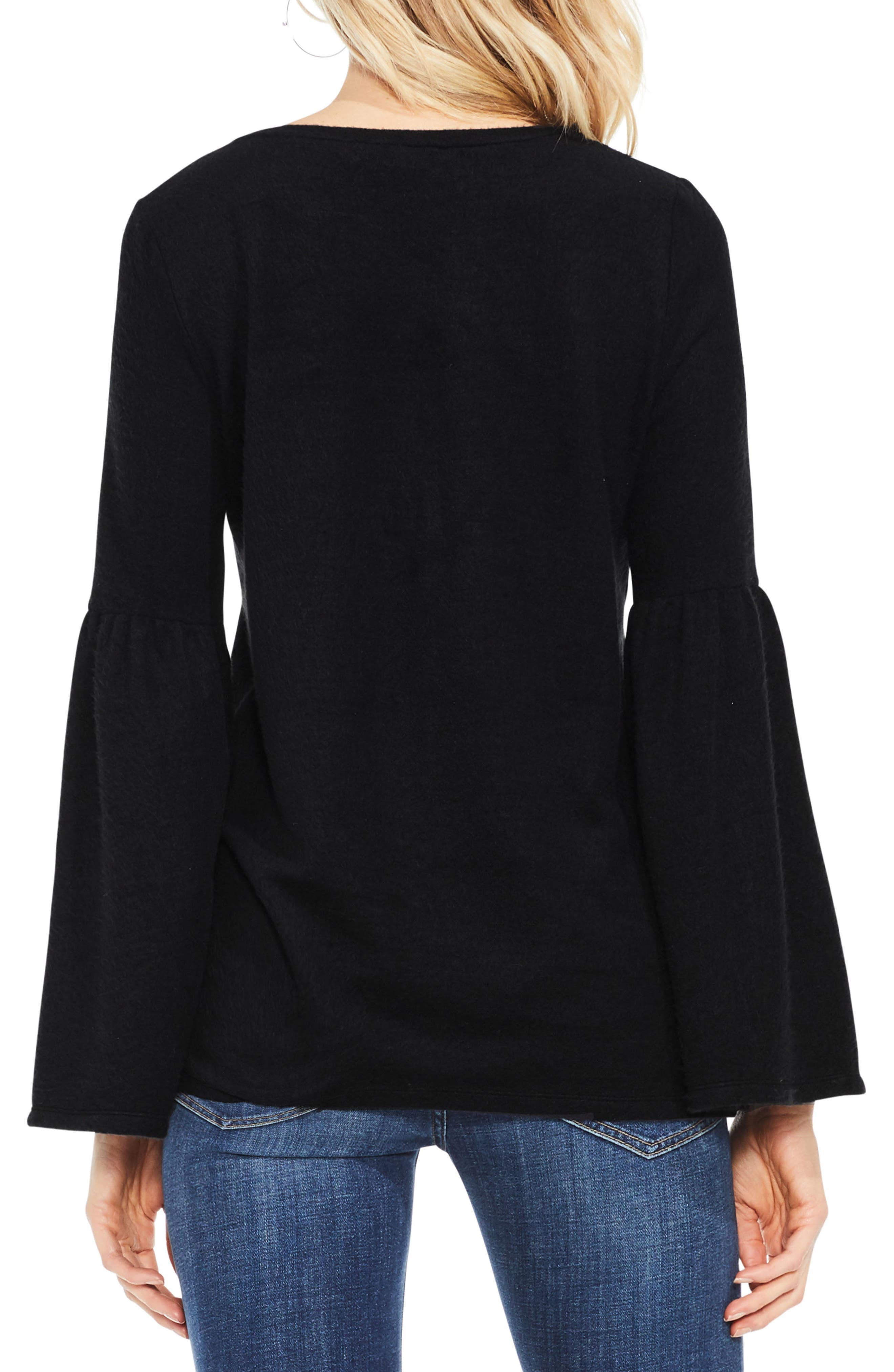 Vince Camuto Ruched Bell Sleeve Fleece Top,                             Alternate thumbnail 2, color,                             006