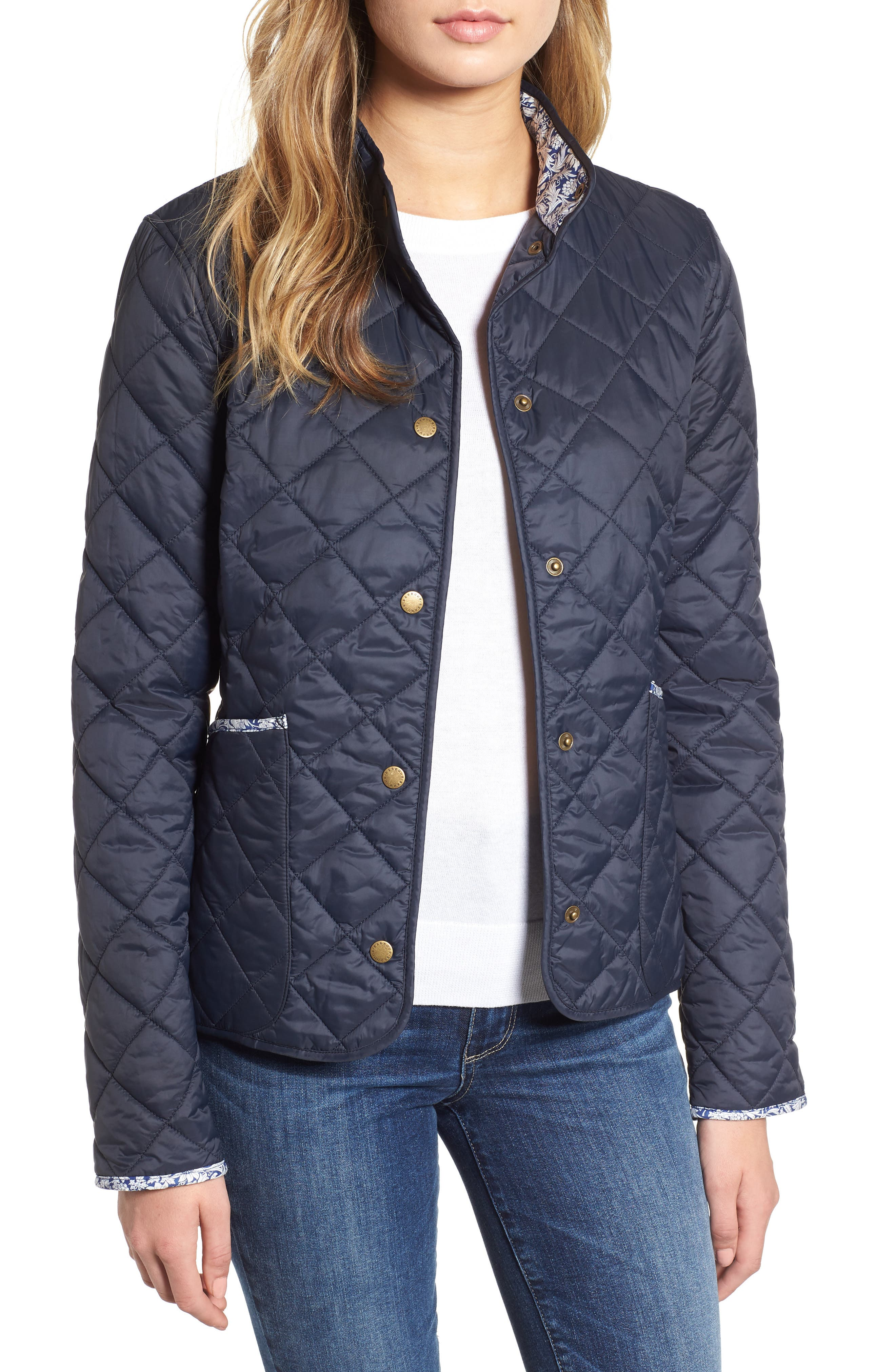 Barbour X Liberty Evelyn Quilted Jacket, US / 14 UK - Blue