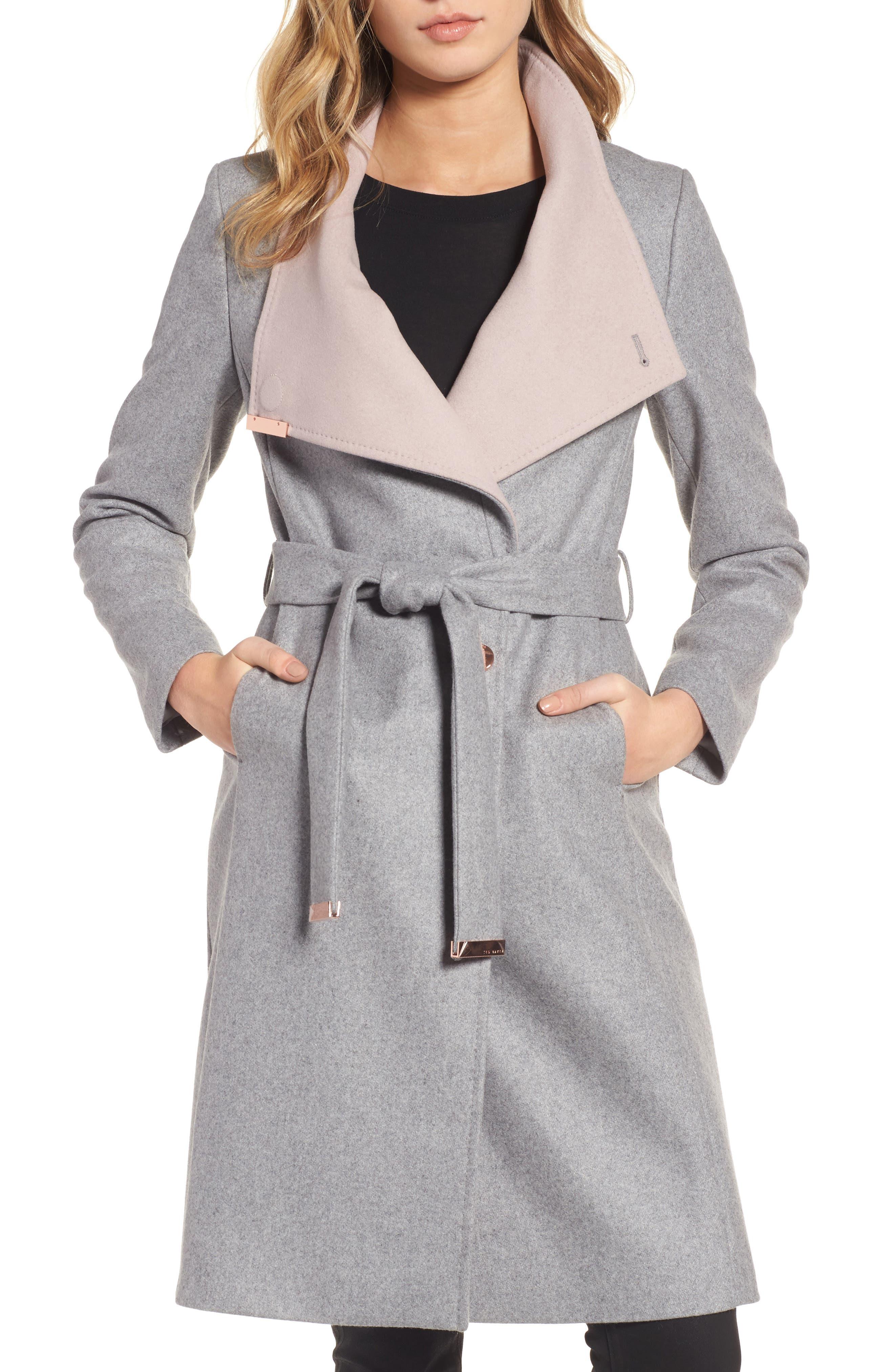 Wool Blend Long Wrap Coat,                             Main thumbnail 1, color,                             050