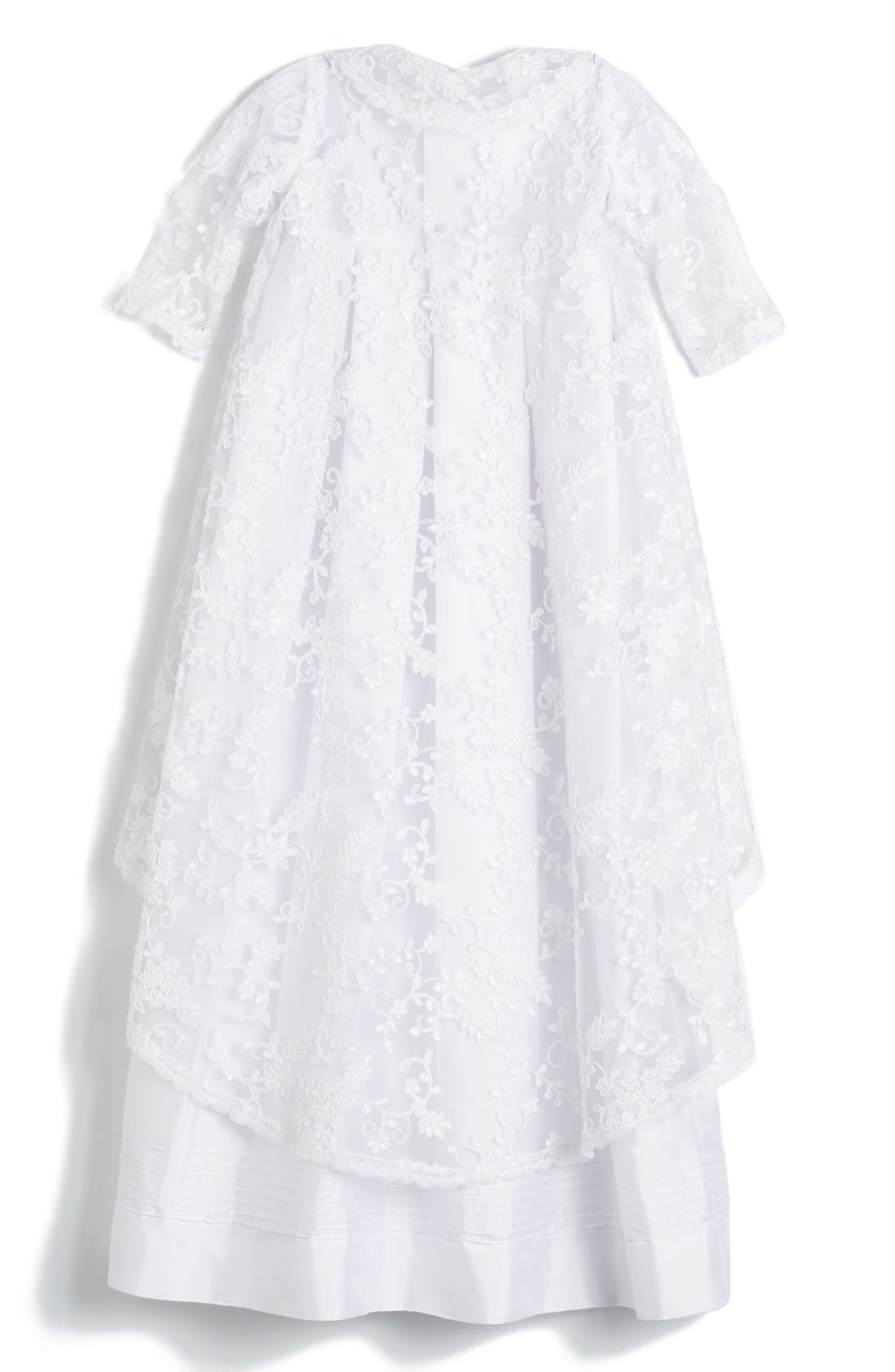 'Renaissance' Christening Gown & Bonnet,                             Alternate thumbnail 2, color,                             WHITE