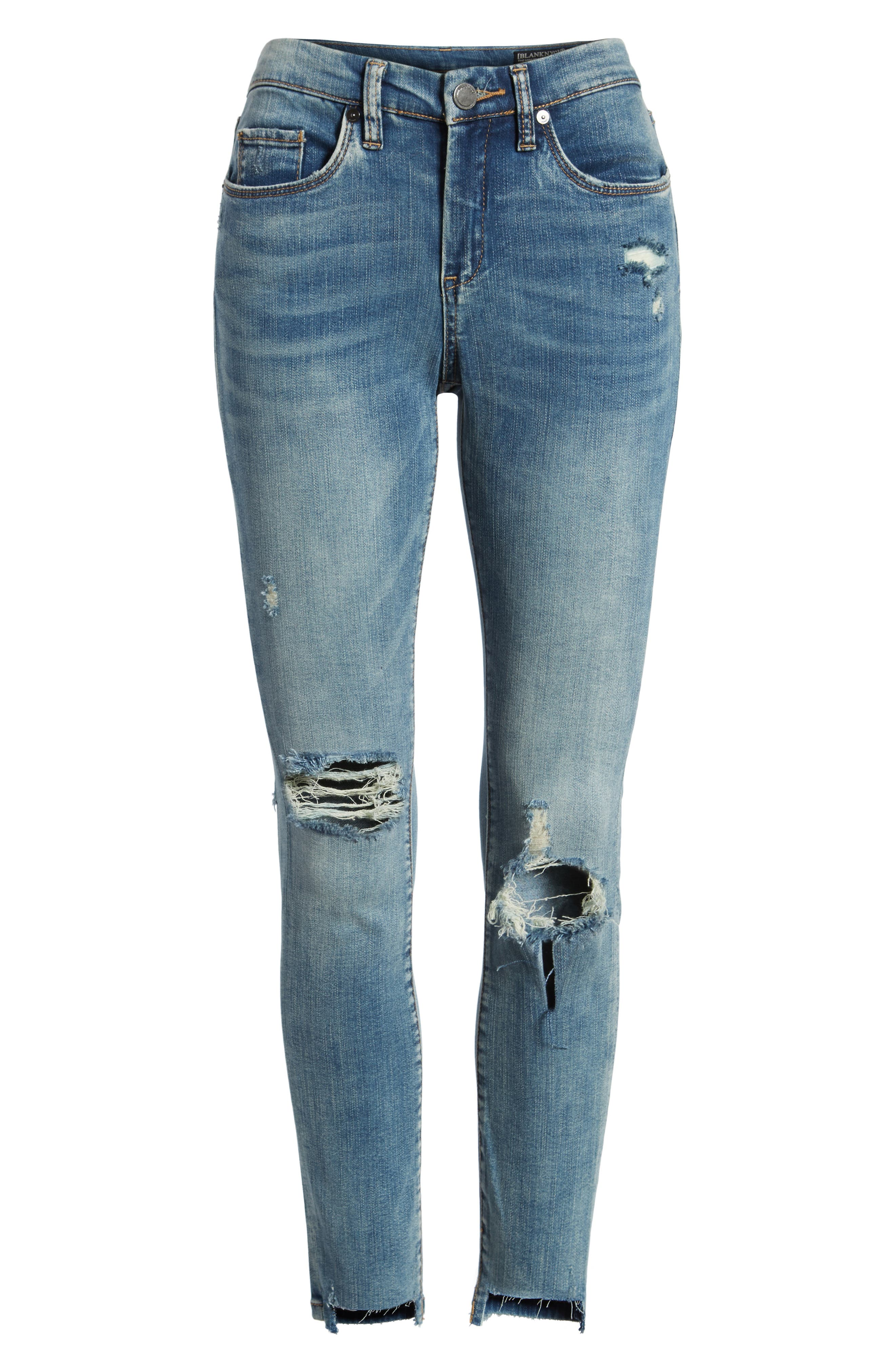Distressed High Waist Skinny Jeans,                             Alternate thumbnail 7, color,                             400