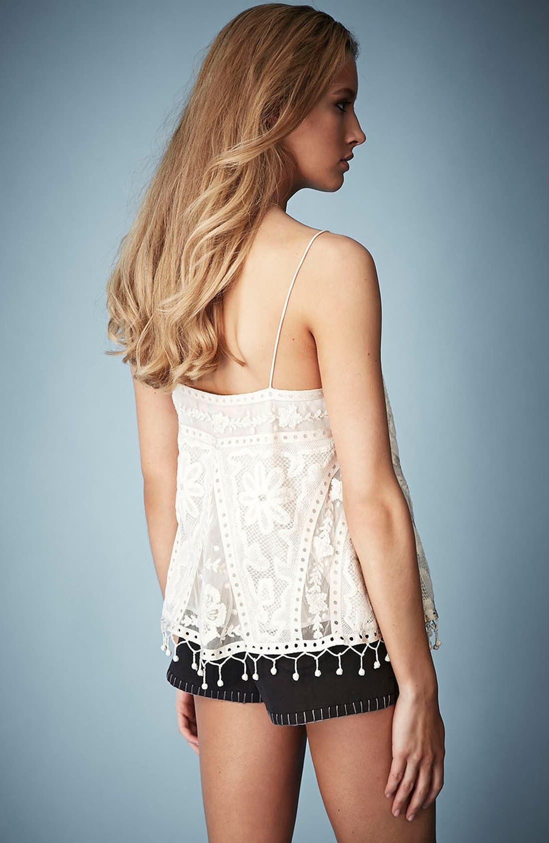 Kate Moss for Topshop Lace Swing Camisole,                             Alternate thumbnail 5, color,
