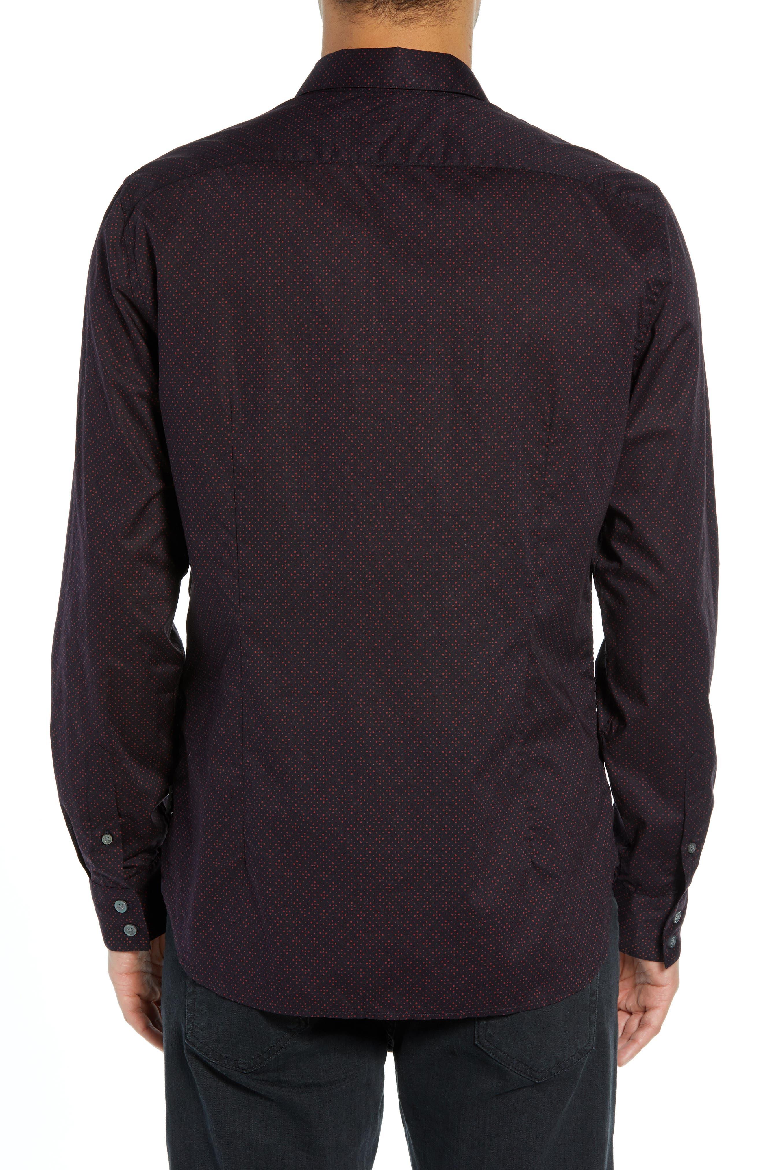 Diamond Print Sport Shirt,                             Alternate thumbnail 3, color,                             RED CLAY