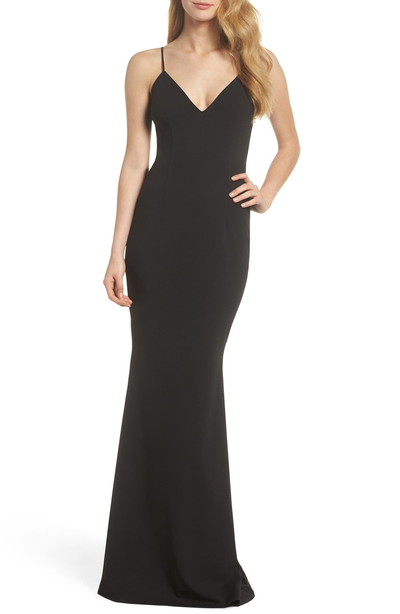 Bambi Cutout Mermaid Gown,                         Main,                         color, 001