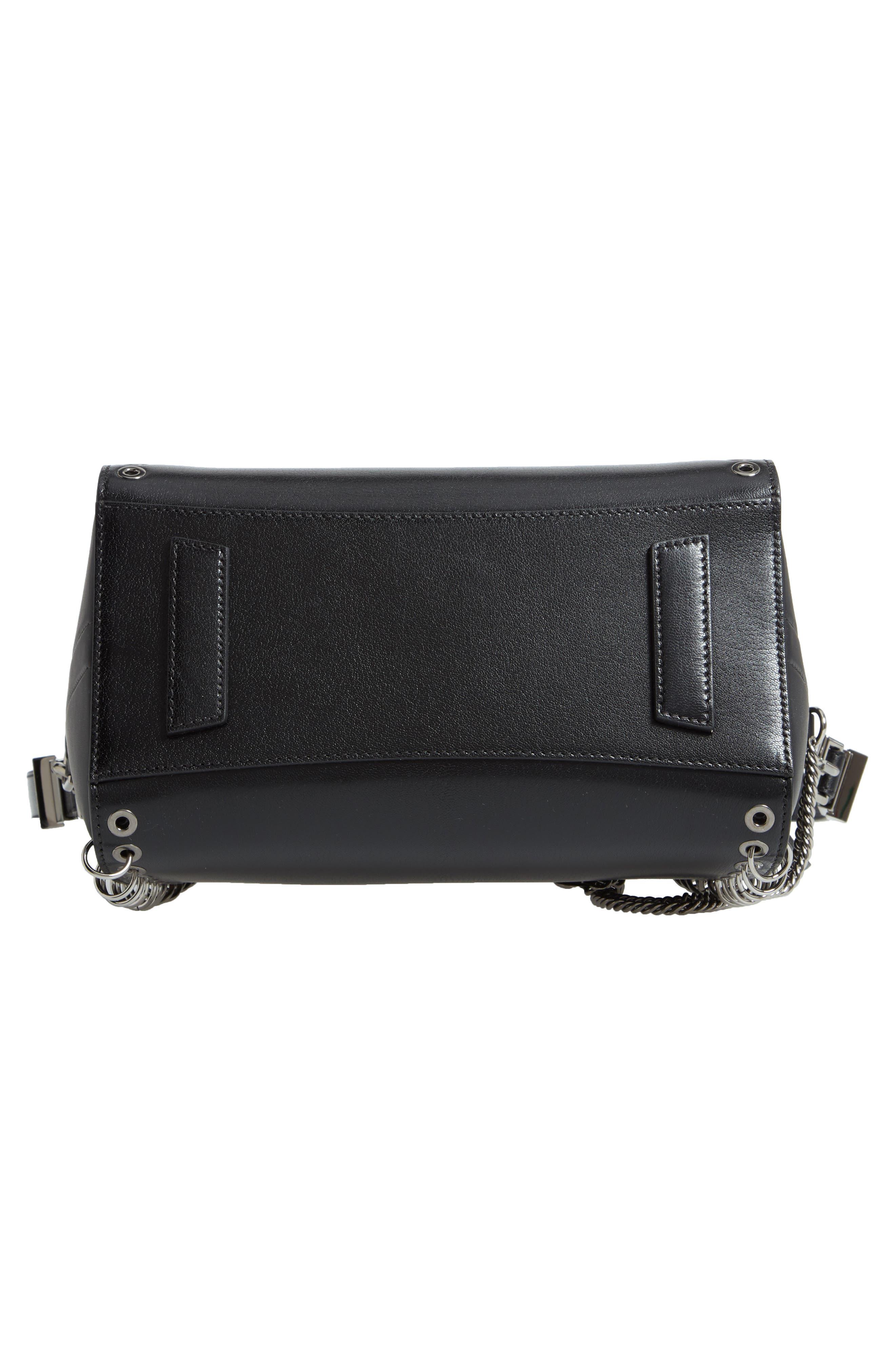 Small Antigona Leather Satchel,                             Alternate thumbnail 7, color,                             BLACK