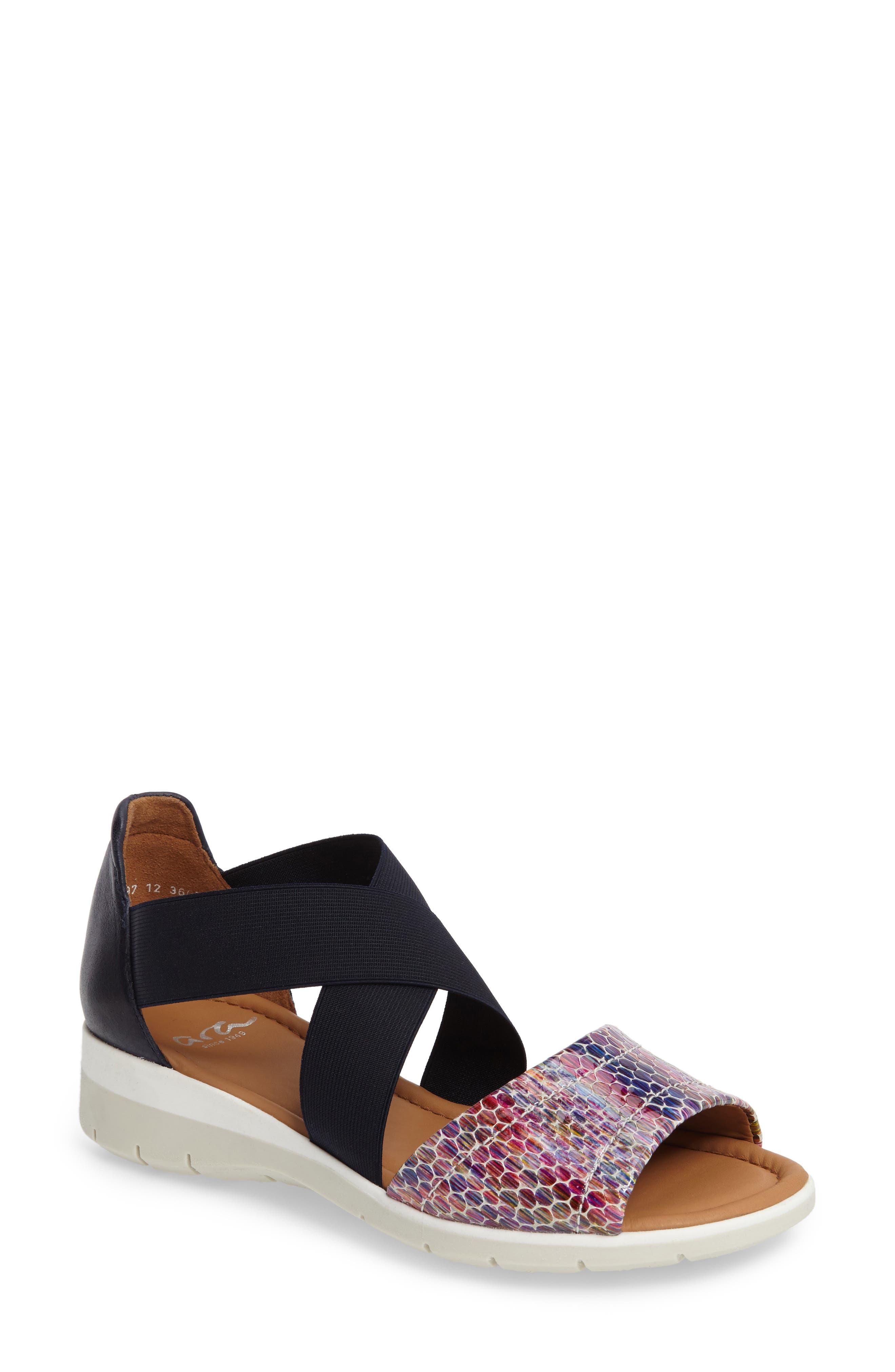 Larissa Cross Strap Wedge Sandal,                         Main,                         color, BLACK MULTI LEATHER
