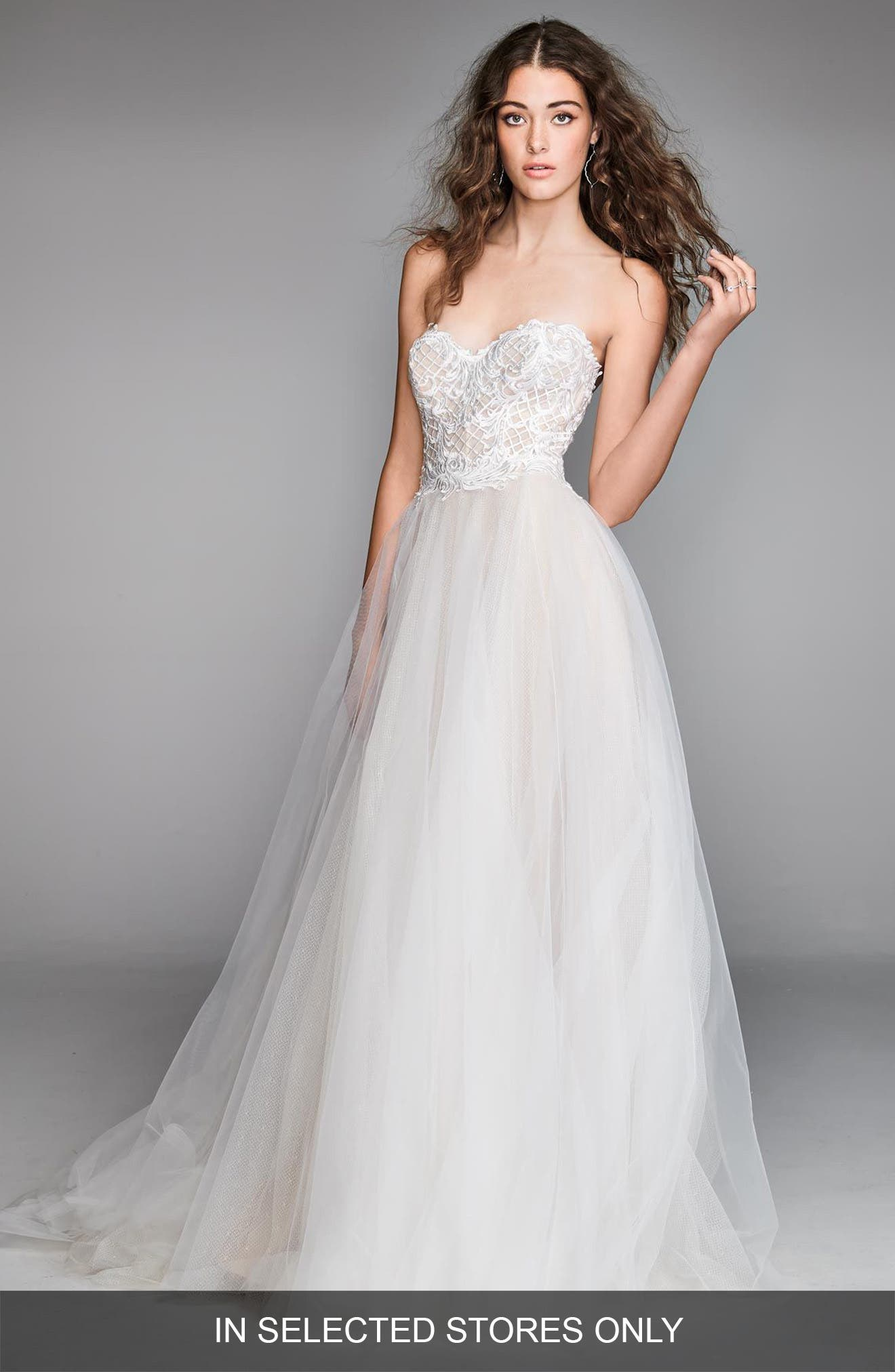 Mandara Lace & Tulle Strapless Ballgown,                         Main,                         color, IVORY/ BLUSH