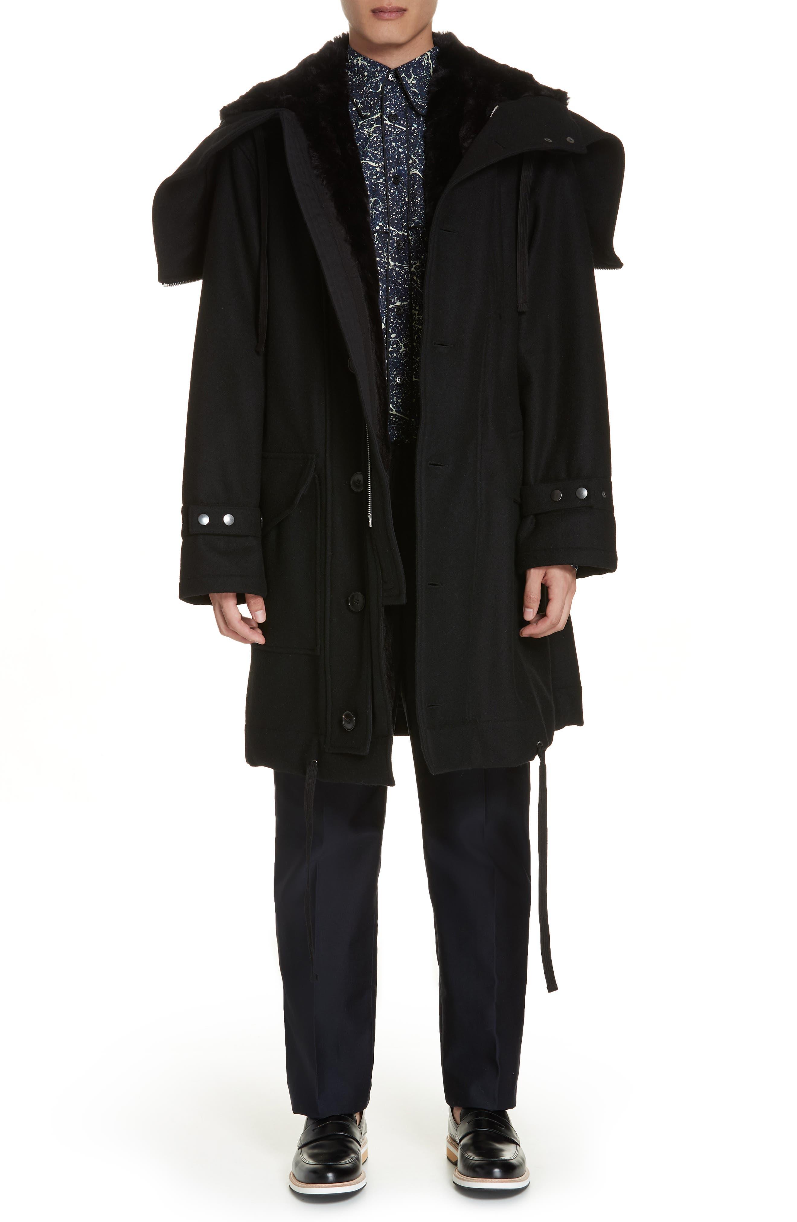 Verreli Hooded Parka with Faux Fur Trim,                             Main thumbnail 1, color,                             BLACK 900